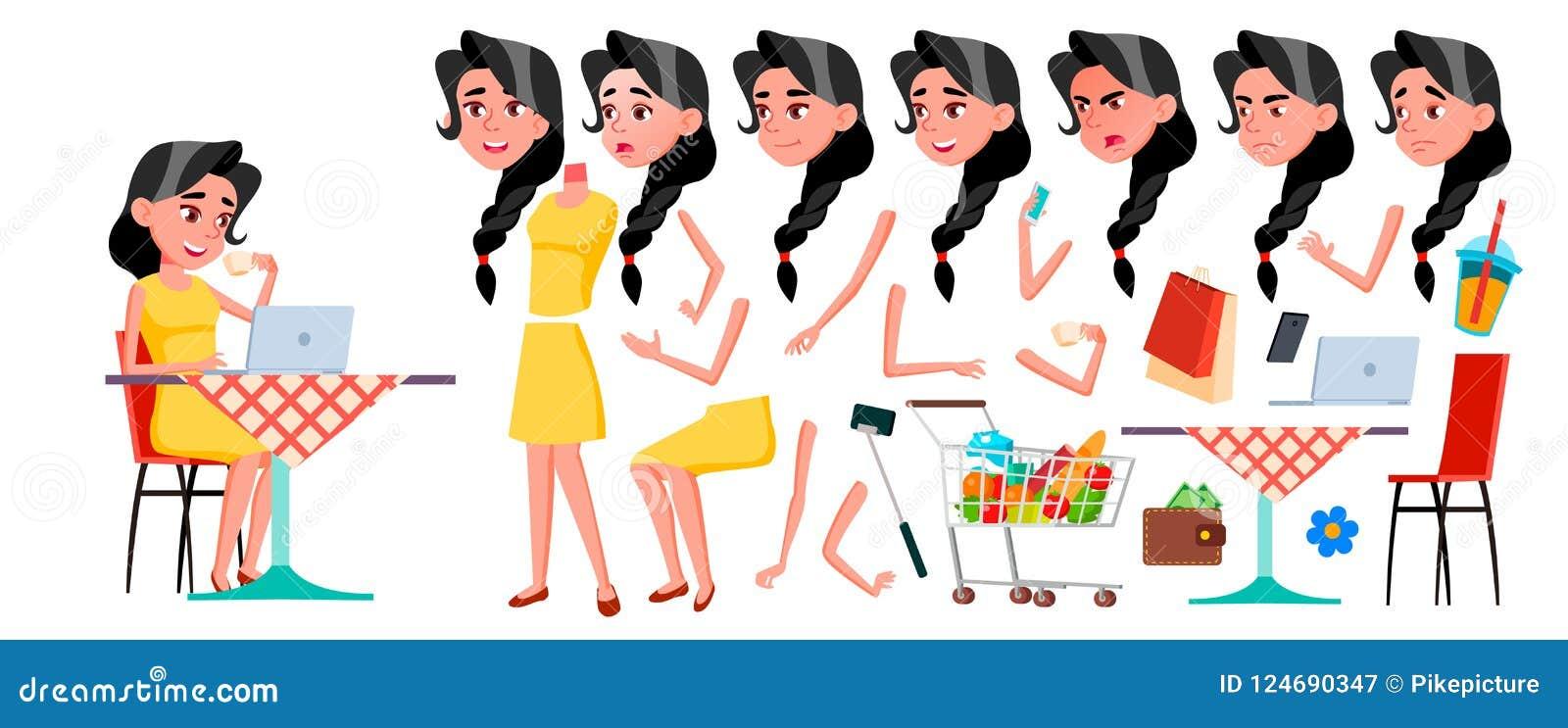Vetor adolescente da menina Grupo da criação da animação Emoções da cara, gestos Cara Crianças animated Para anunciar, brochura