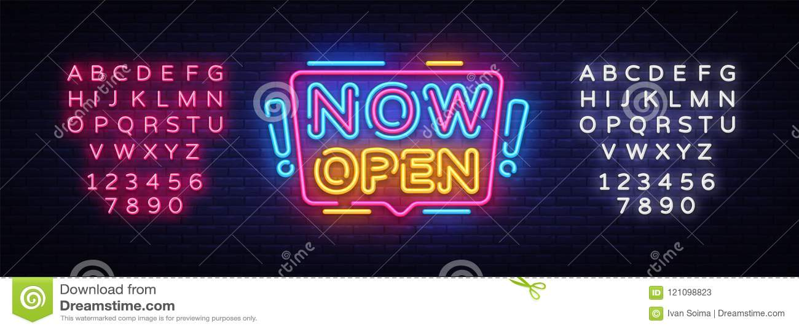 Vetor agora aberto dos sinais de néon Abra agora o sinal de néon do molde do projeto, bandeira clara, quadro indicador de néon, p