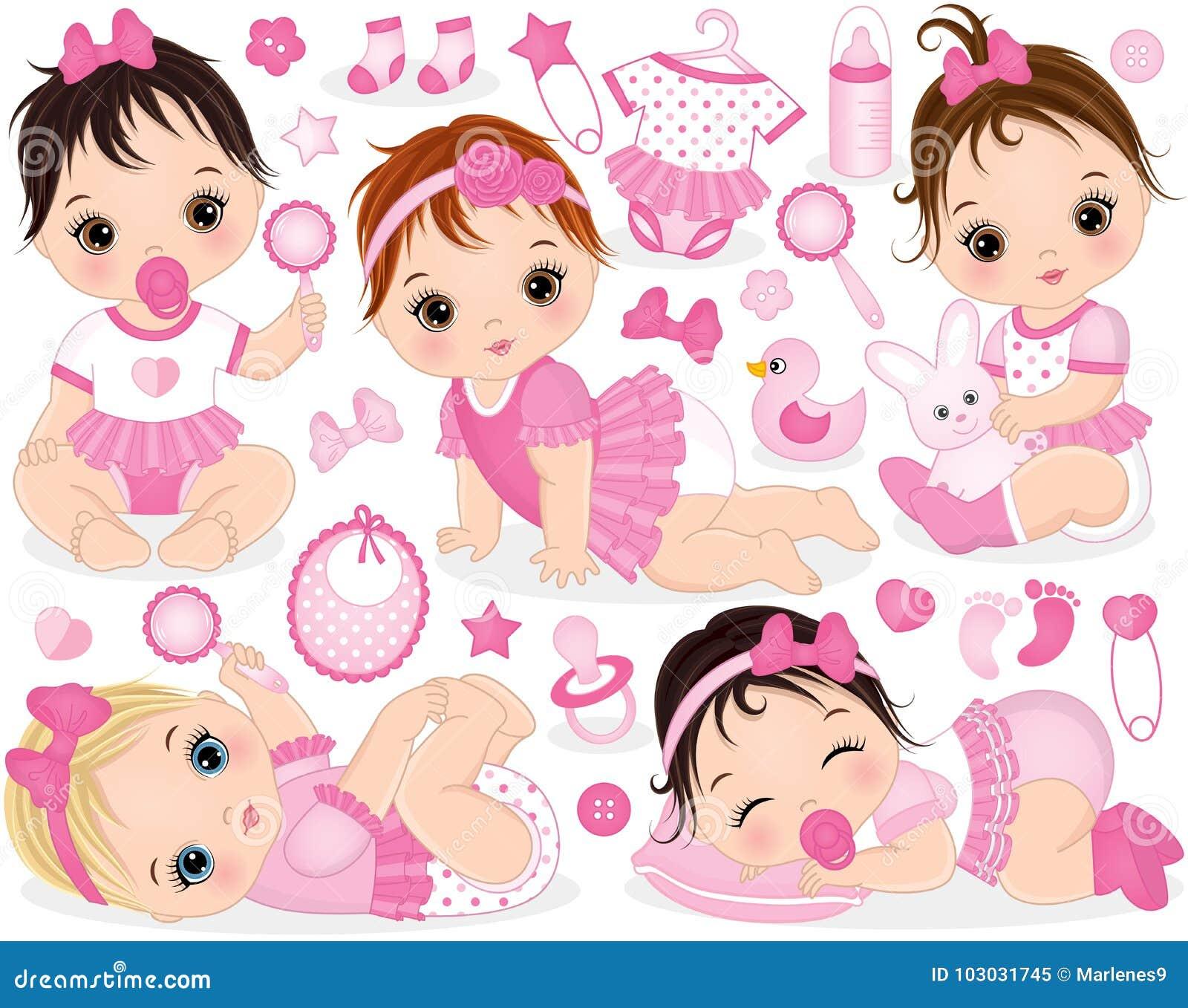 Vetor ajustado com bebês bonitos, brinquedos e acessórios