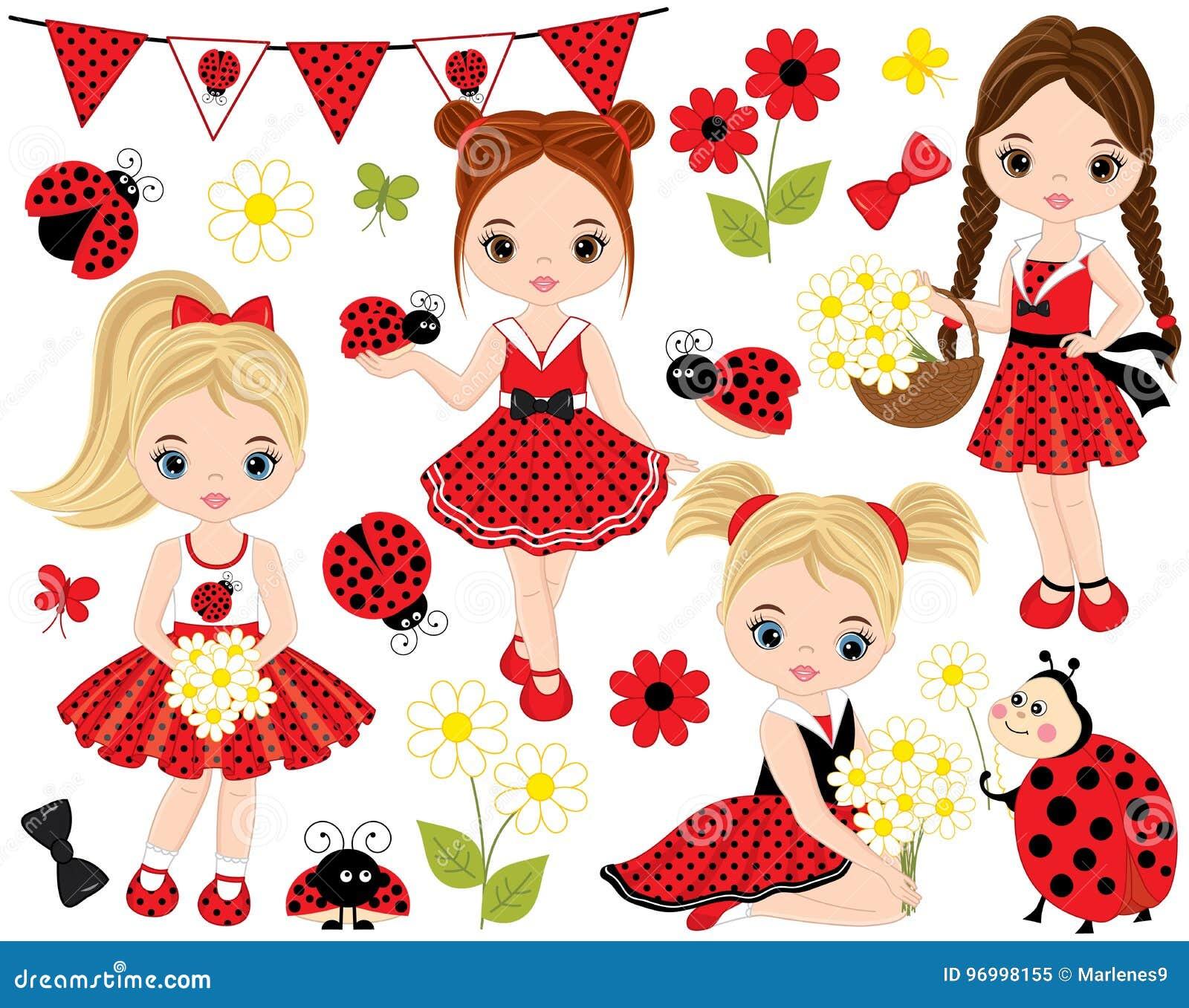 Vetor ajustado com meninas bonitos, joaninhas, flores e estamenha