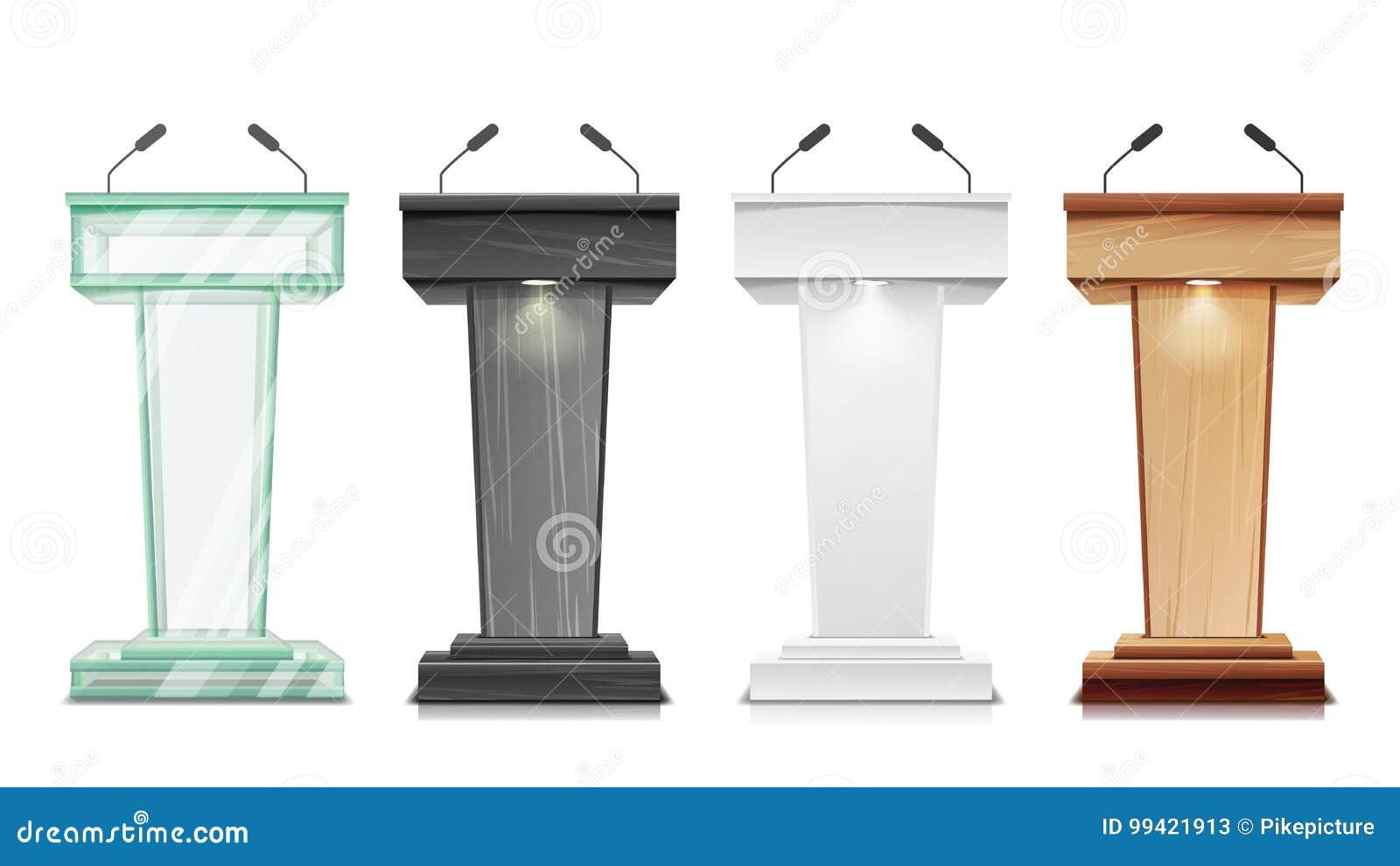 Vetor ajustado da tribuna Suporte da tribuna do pódio com microfones Apresentação do negócio ou conferência, discurso do debate i