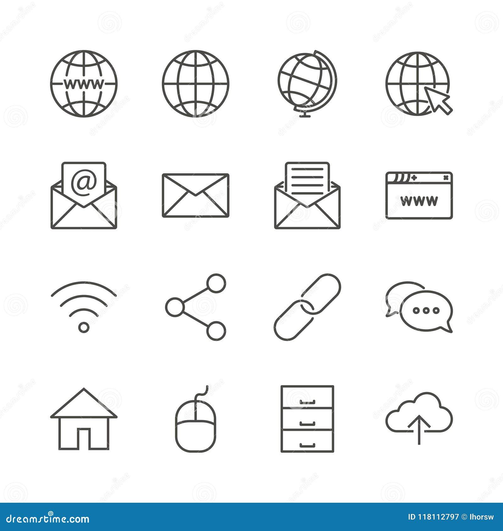 Vetor ajustado do ícone do Internet Linha coleção do símbolo da rede isolada Ui liso s do esboço da mensagem na moda