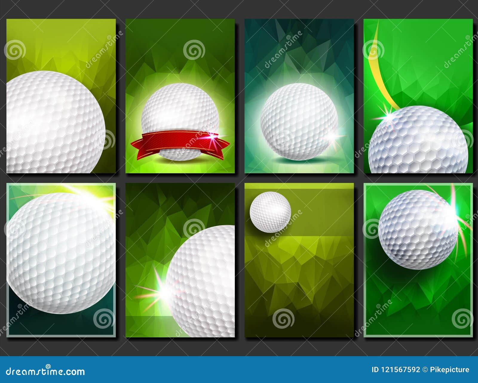 Vetor ajustado do cartaz do golfe Molde vazio para o projeto promotion Esfera de golfe Competiam moderno Anúncio do evento despor