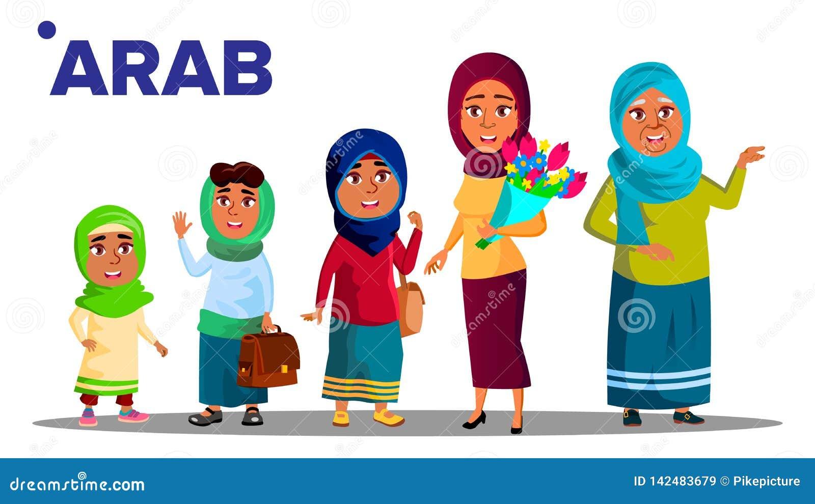 Vetor ajustado fêmea da pessoa dos povos da geração árabe, muçulmana Mãe, filha, neta, bebê Ilustração isolada