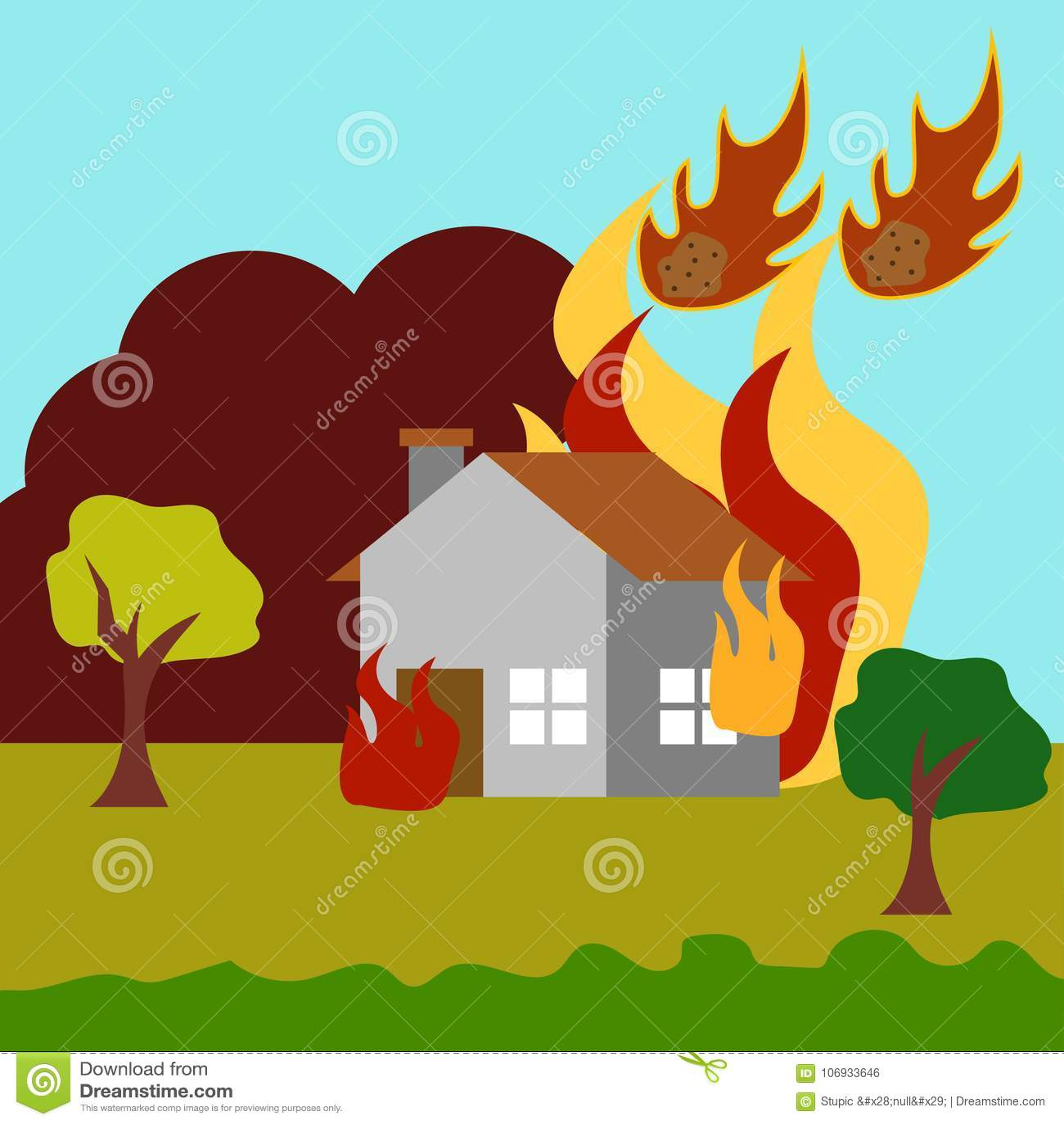 Vetor Art Logo Template da ilustração da catástrofe natural