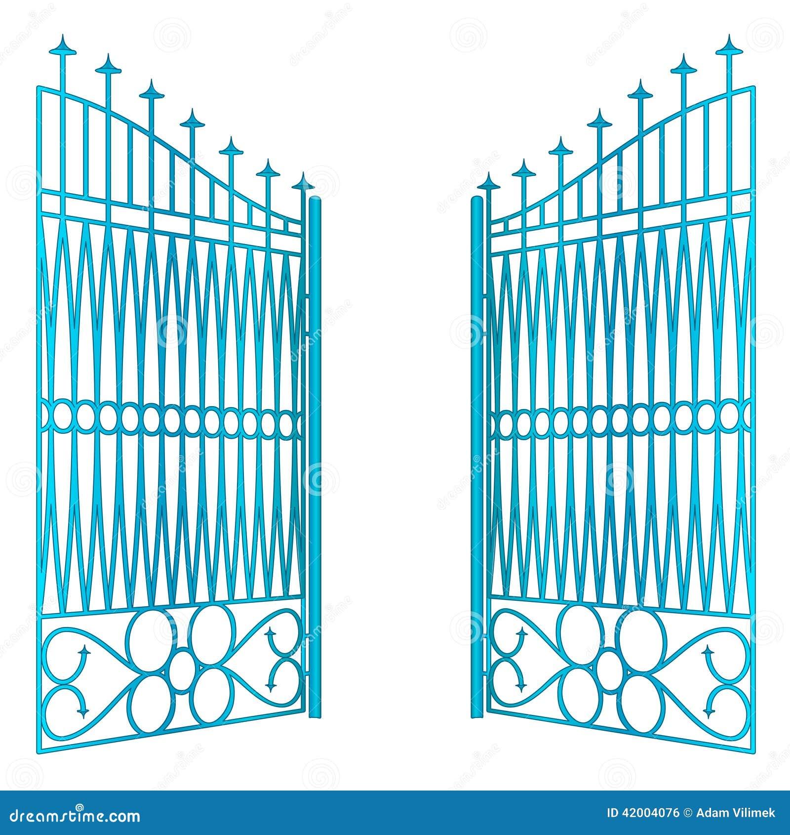 Vetor azul aberto isolado da cerca da porta do ferro