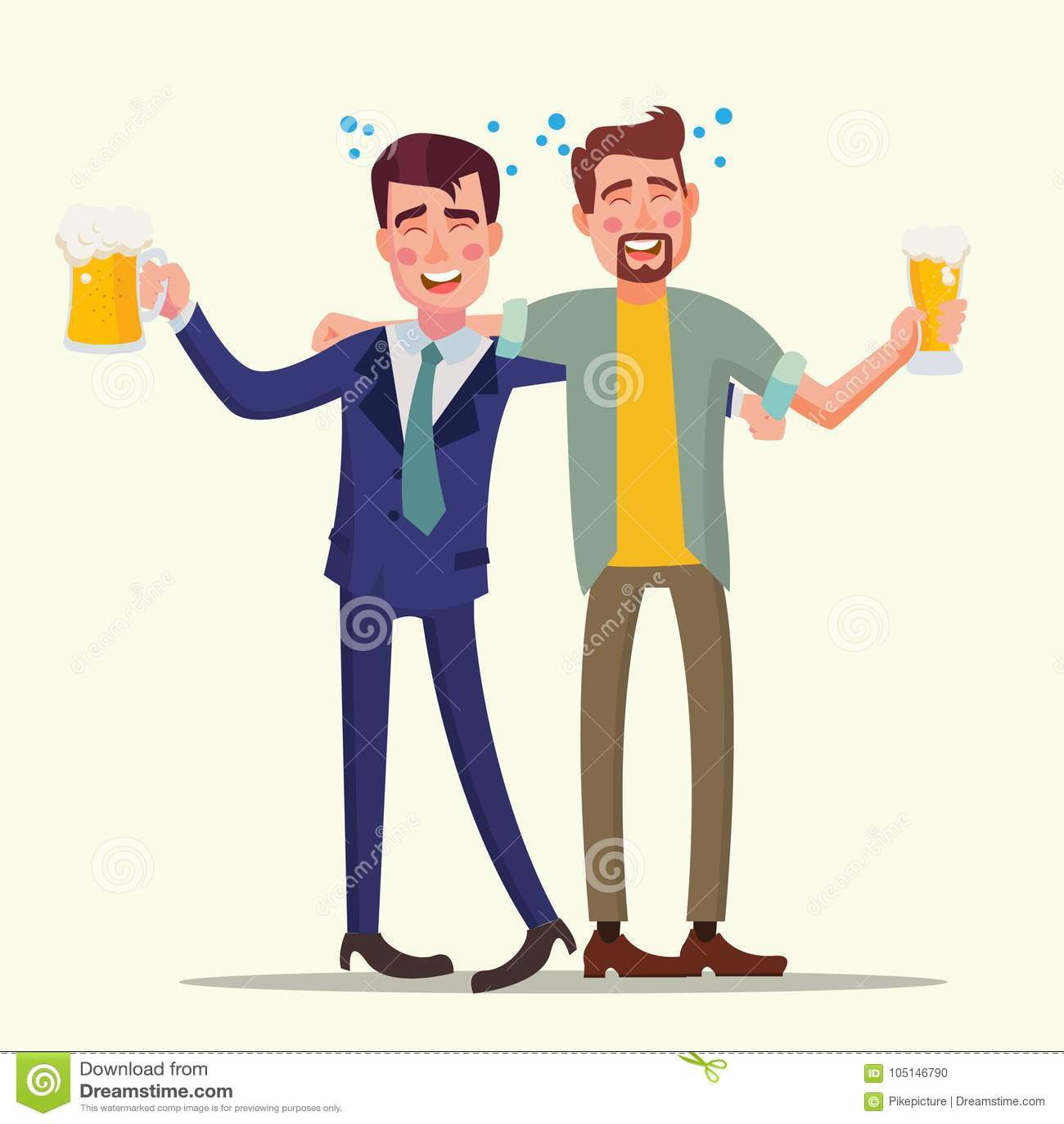 Vetor bêbado do homem do escritório Amigos engraçados Conceito de relaxamento E