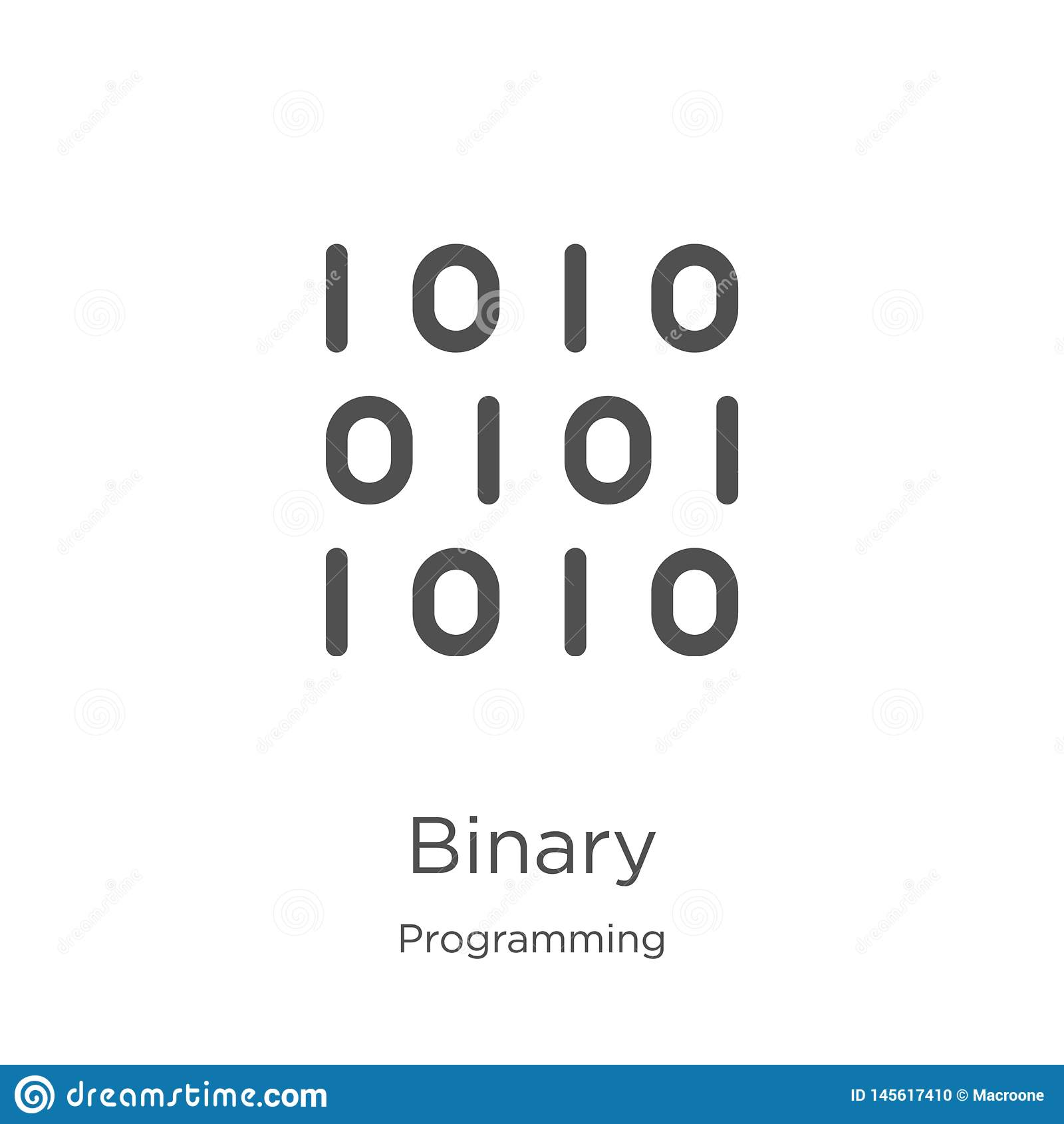 Vetor binário do ícone da coleção de programação Linha fina ilustra??o bin?ria do vetor do ?cone do esbo?o Esboço, linha fina íco