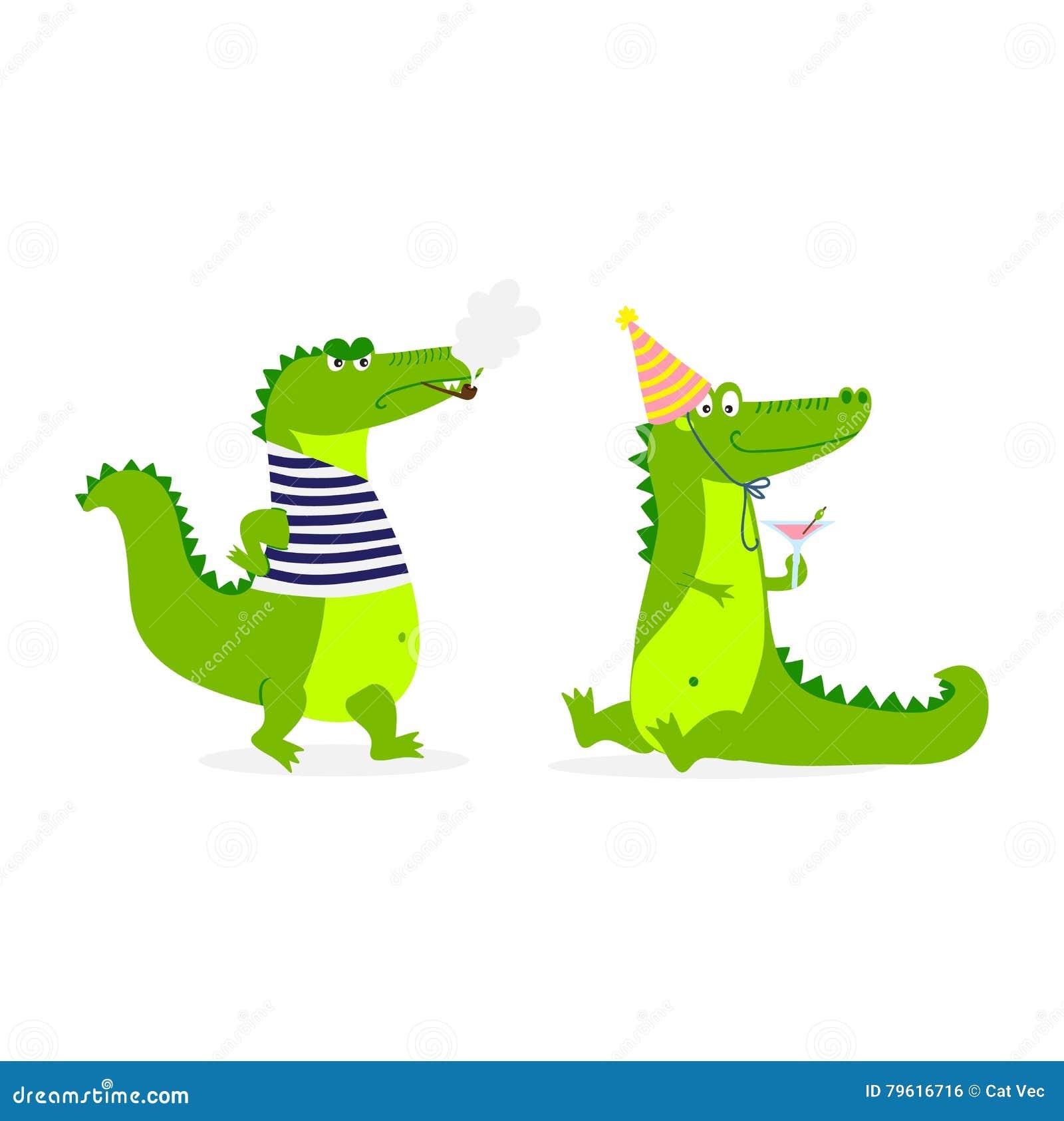 Vetor bonito do caráter do crocodilo
