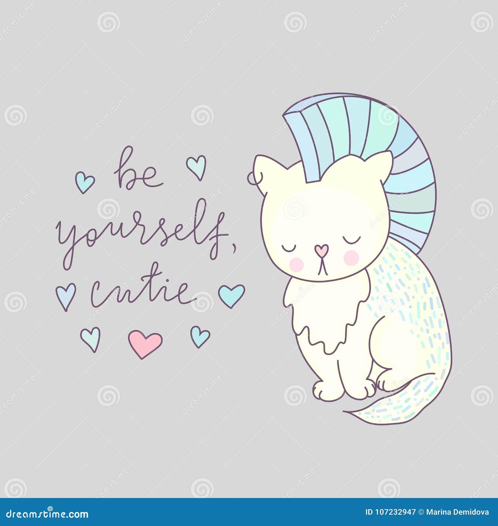 Vetor bonito do cartão do gato