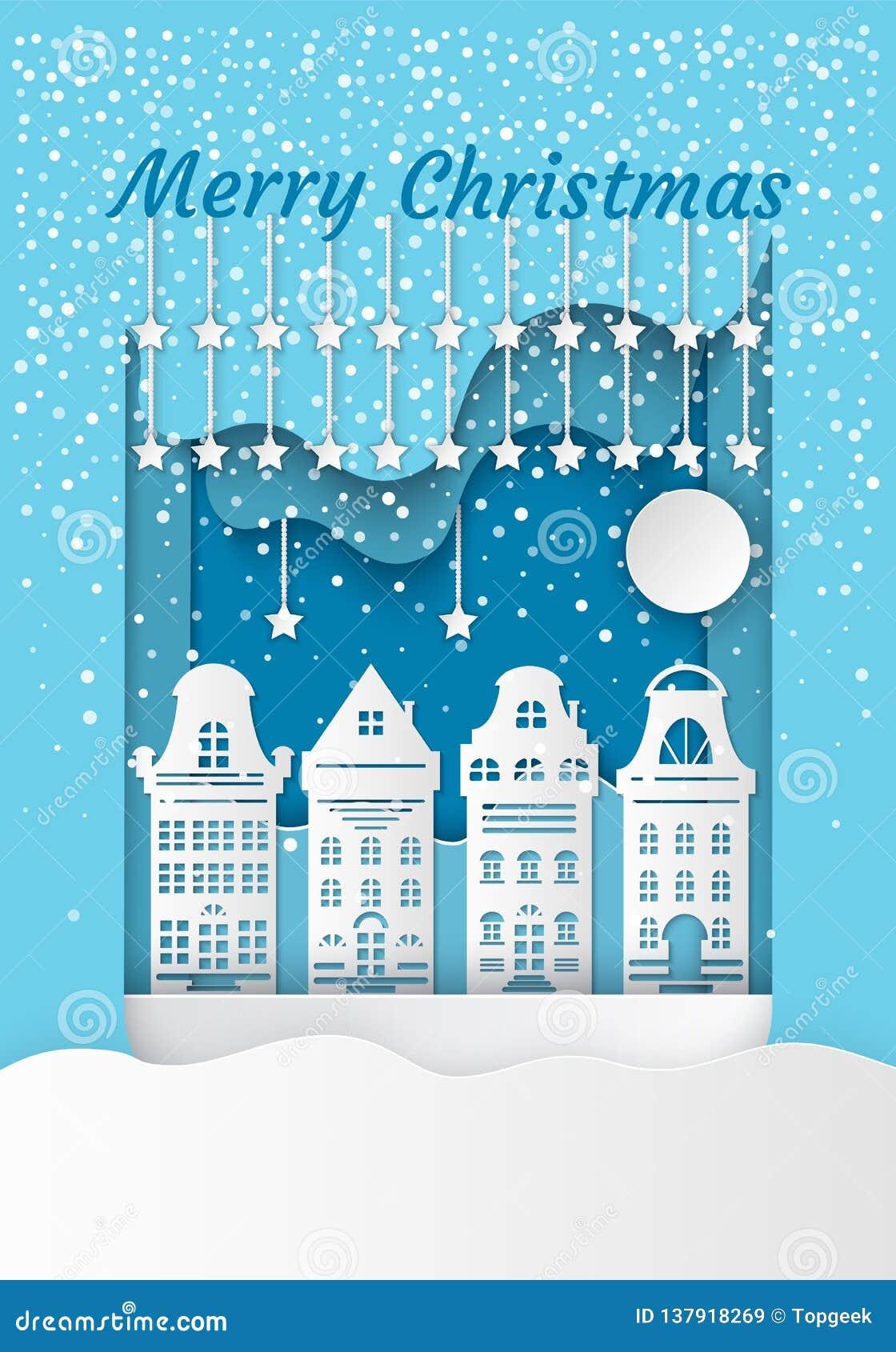 Vetor branco das construções residenciais do Feliz Natal