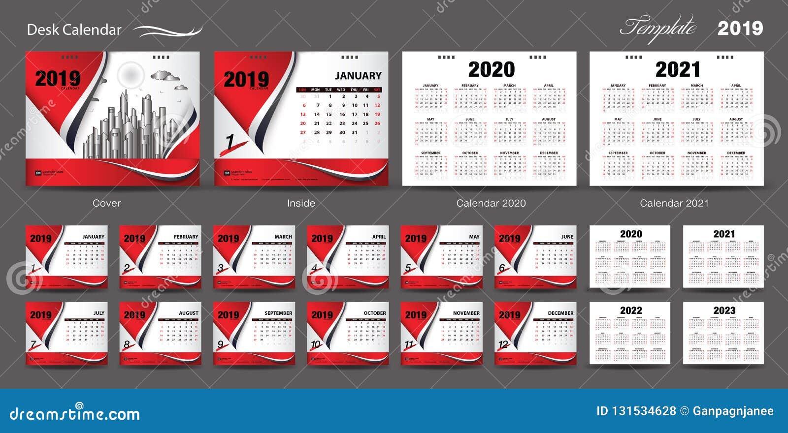 Vetor 2019, calendário 2020, 2021, 2022, 2023, projeto da tampa, grupo do projeto do molde do calendário de mesa do grupo de 12 m