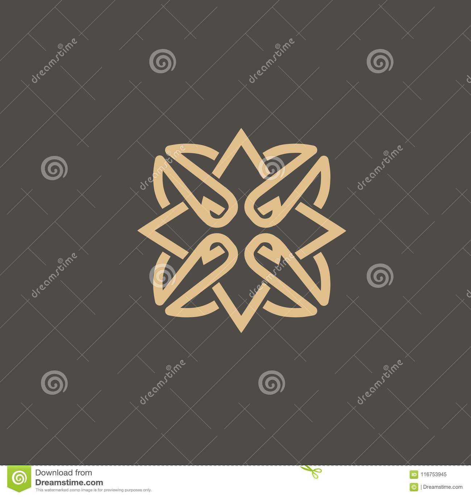 Vetor celta do nó Símbolo decorativo da tatuagem Emblema retro do círculo luxuoso Logotipo escocês tradicional do vetor