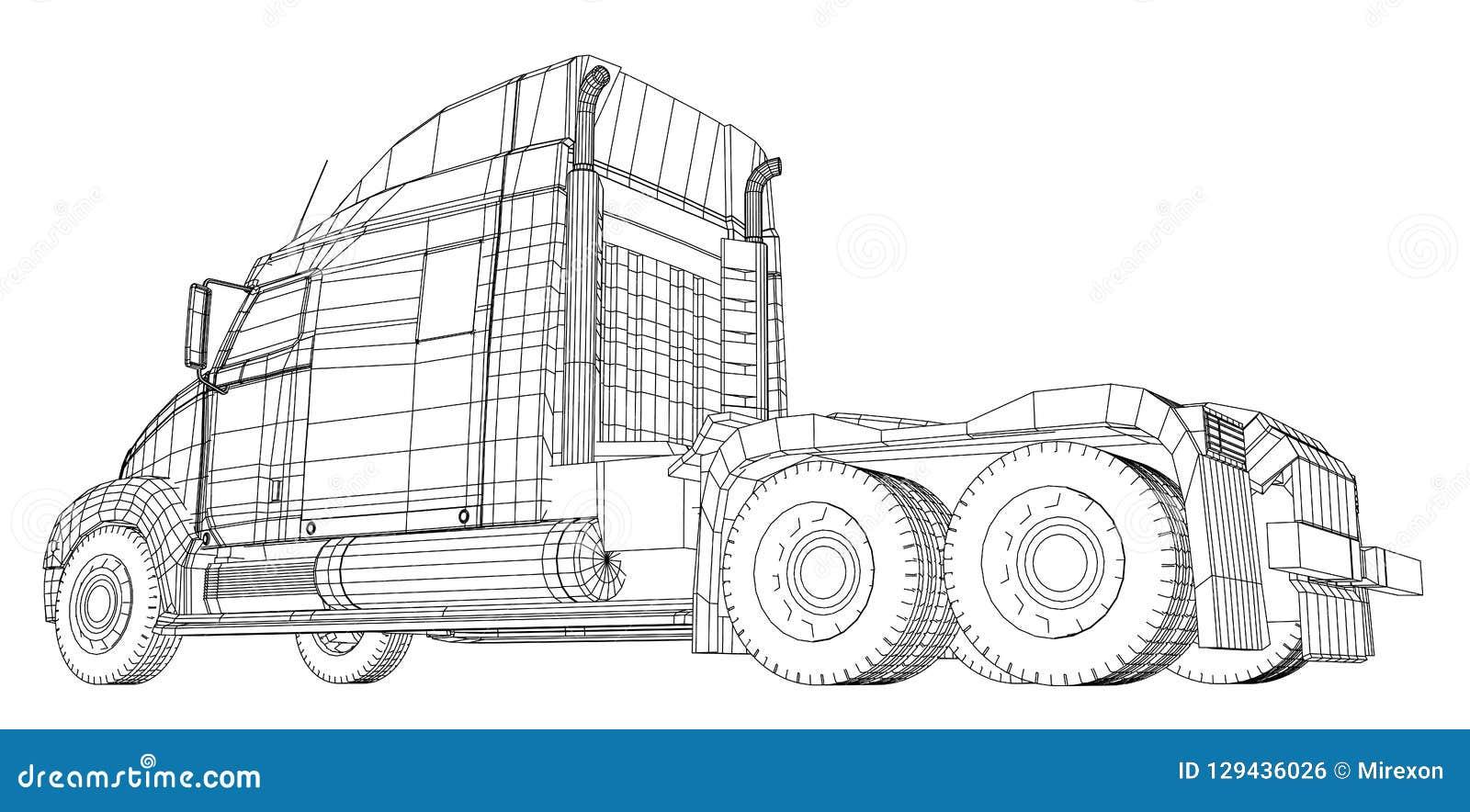 Vetor comercial do caminhão da carga da entrega para a identidade de marca e propaganda isolada Ilustração criada de 3d fio