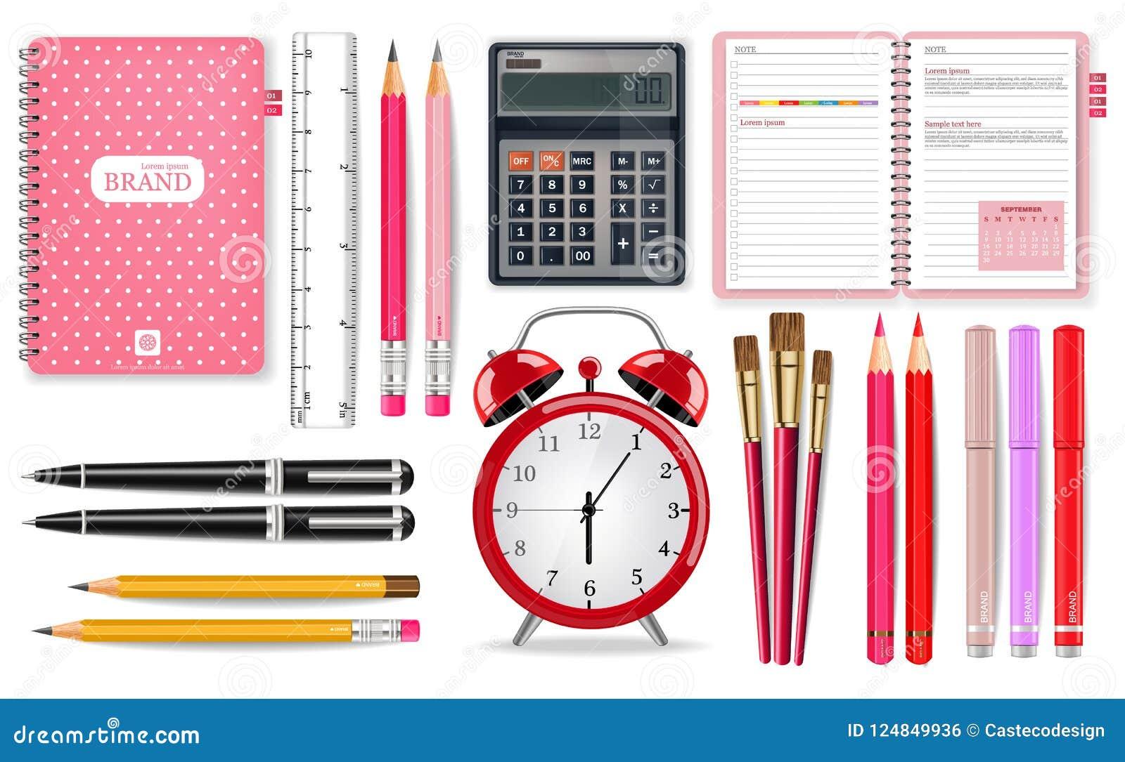 Vetor cor-de-rosa das fontes de escola realístico Ferramentas do despertador, da calculadora, do caderno e da pena Ilustrações 3d