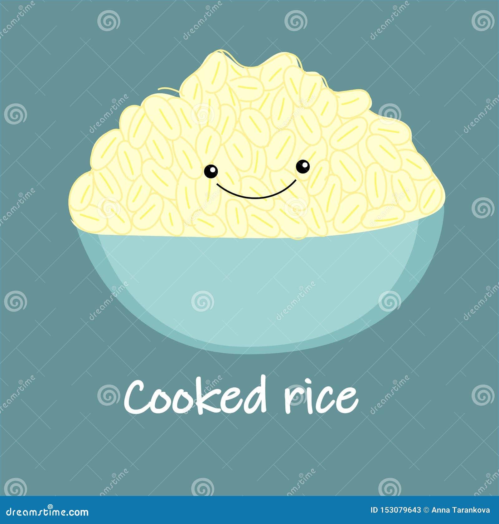 Vetor cozinhado branco bonito dos desenhos animados do arroz Alimento tailand?s - fritada #6 do Stir Bacia, ilustração tirada mão