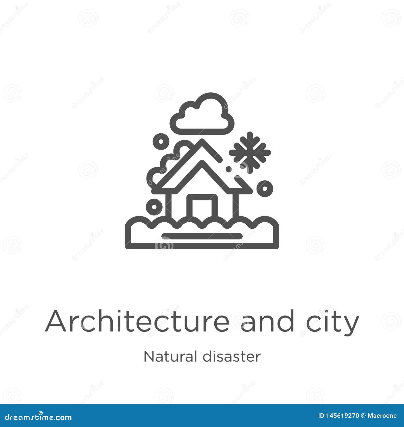 Vetor da arquitetura e do ícone da cidade da coleção da catástrofe natural Linha fina arquitetura e vetor do ícone do esboço da c