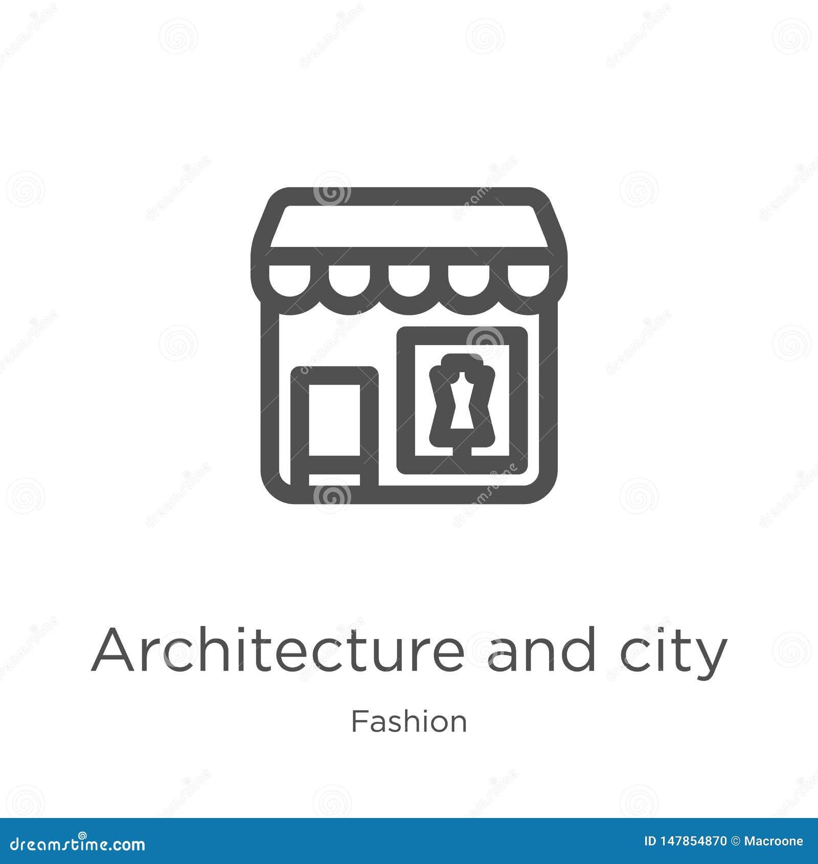 Vetor da arquitetura e do ícone da cidade da coleção da forma Linha fina arquitetura e ilustração do vetor do ícone do esboço da