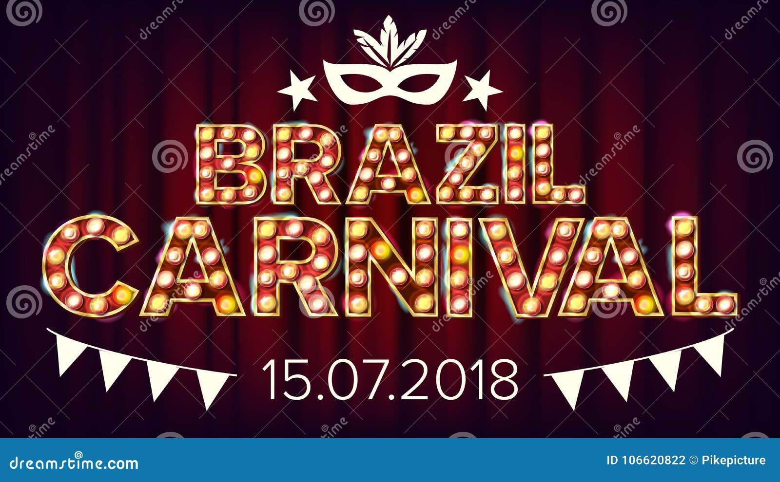 Vetor da bandeira do carnaval de Brasil Fundo da lâmpada do carnaval Para o projeto musical da bandeira do partido Ilustração ret