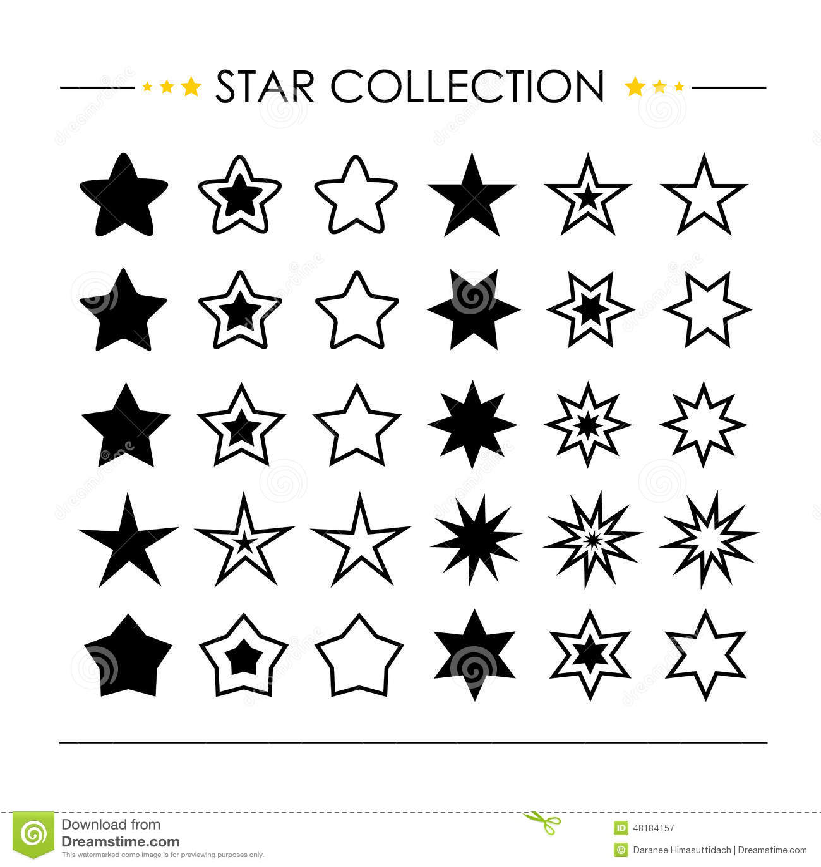 Vetor da coleção do ícone da estrela