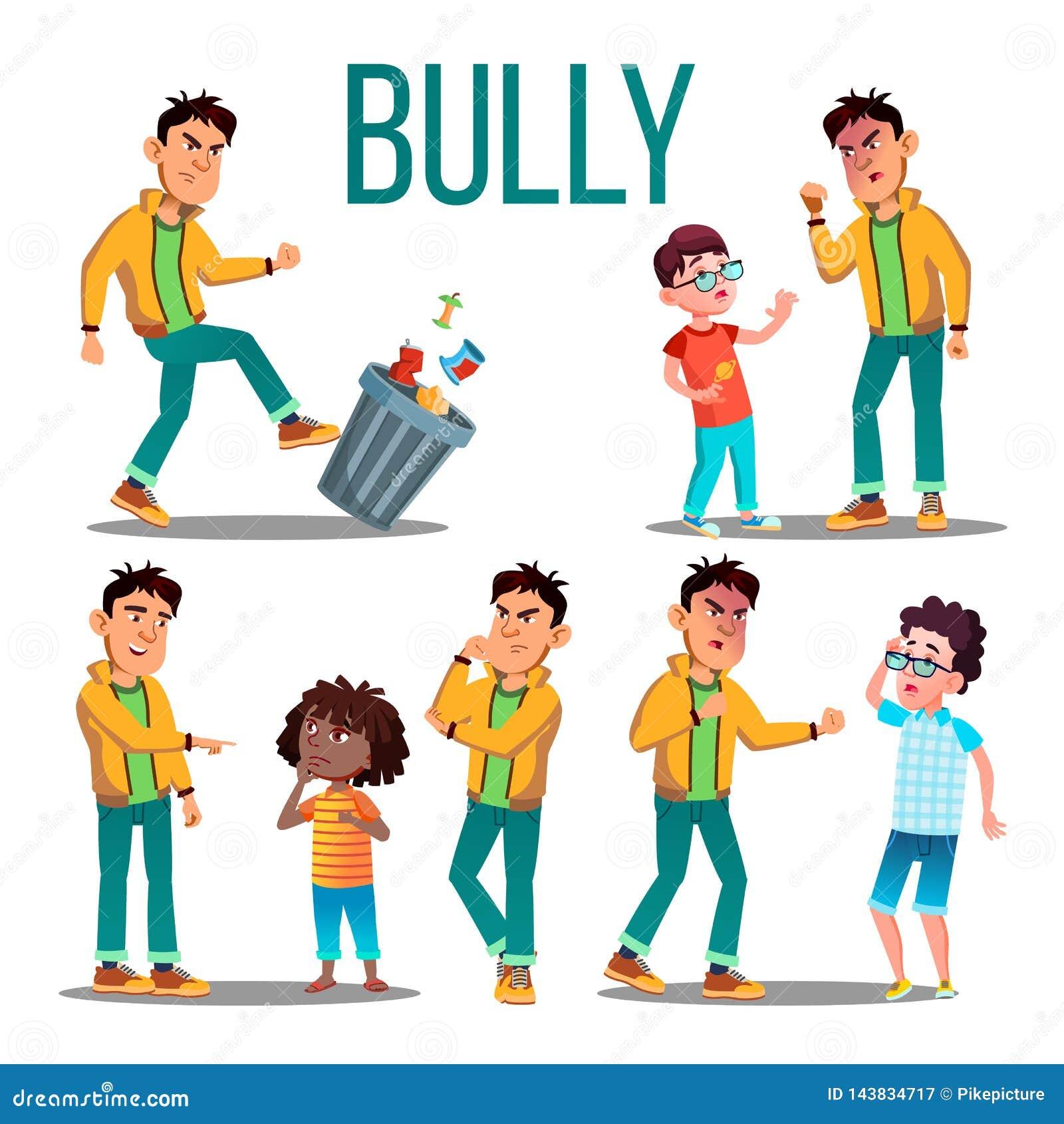 Vetor da criança da intimidação Criança irritada da intimidação Vítima do adolescente Menino triste, criança da menina Ilustração