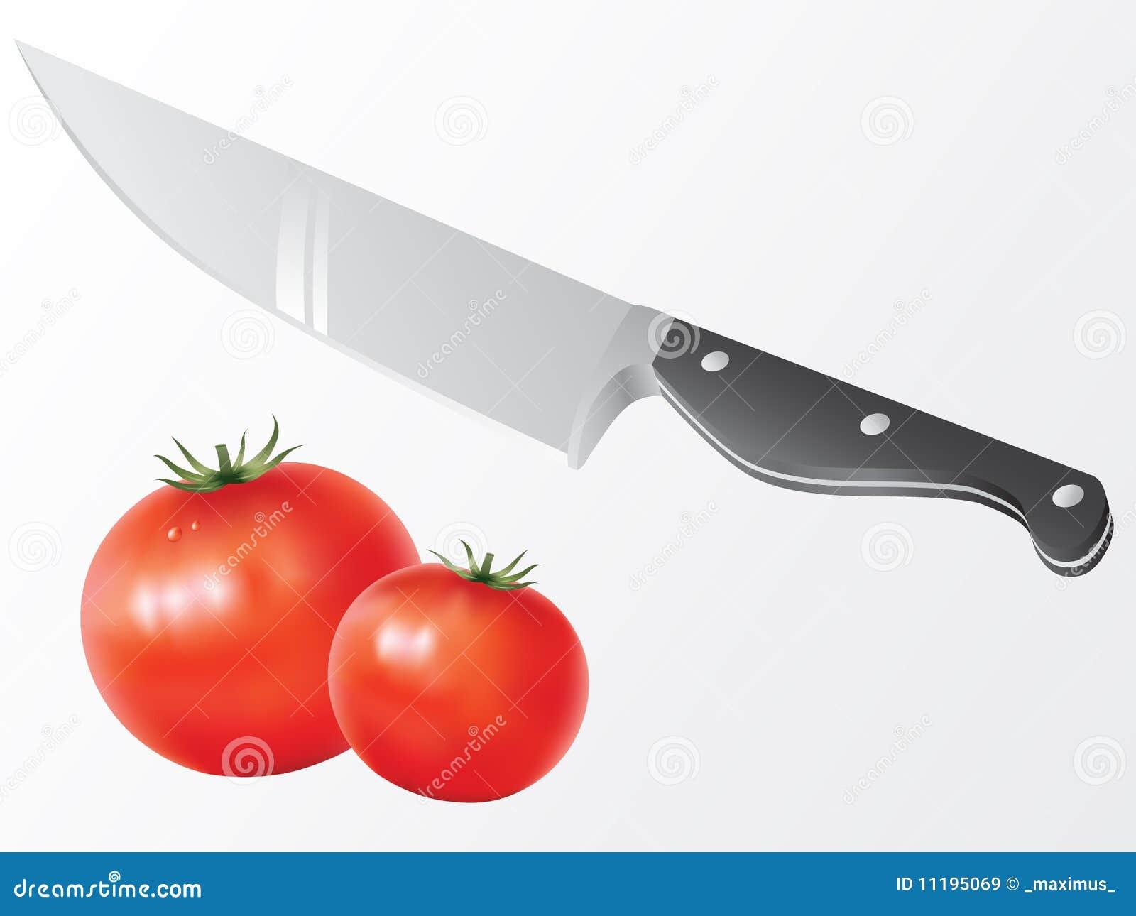 Vetor da faca e do tomate