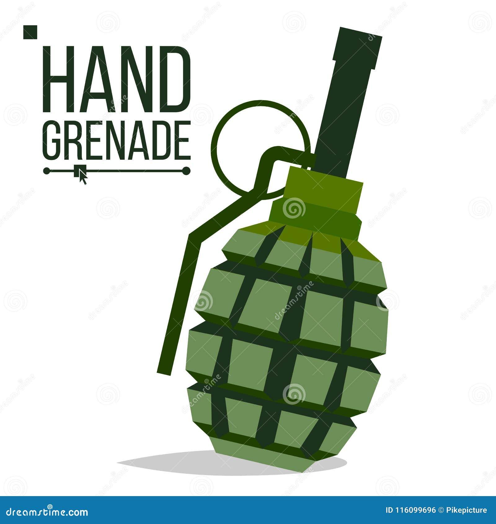 Vetor Da Granada Big Bang Bomba Classica Verde Da Granada De Mao