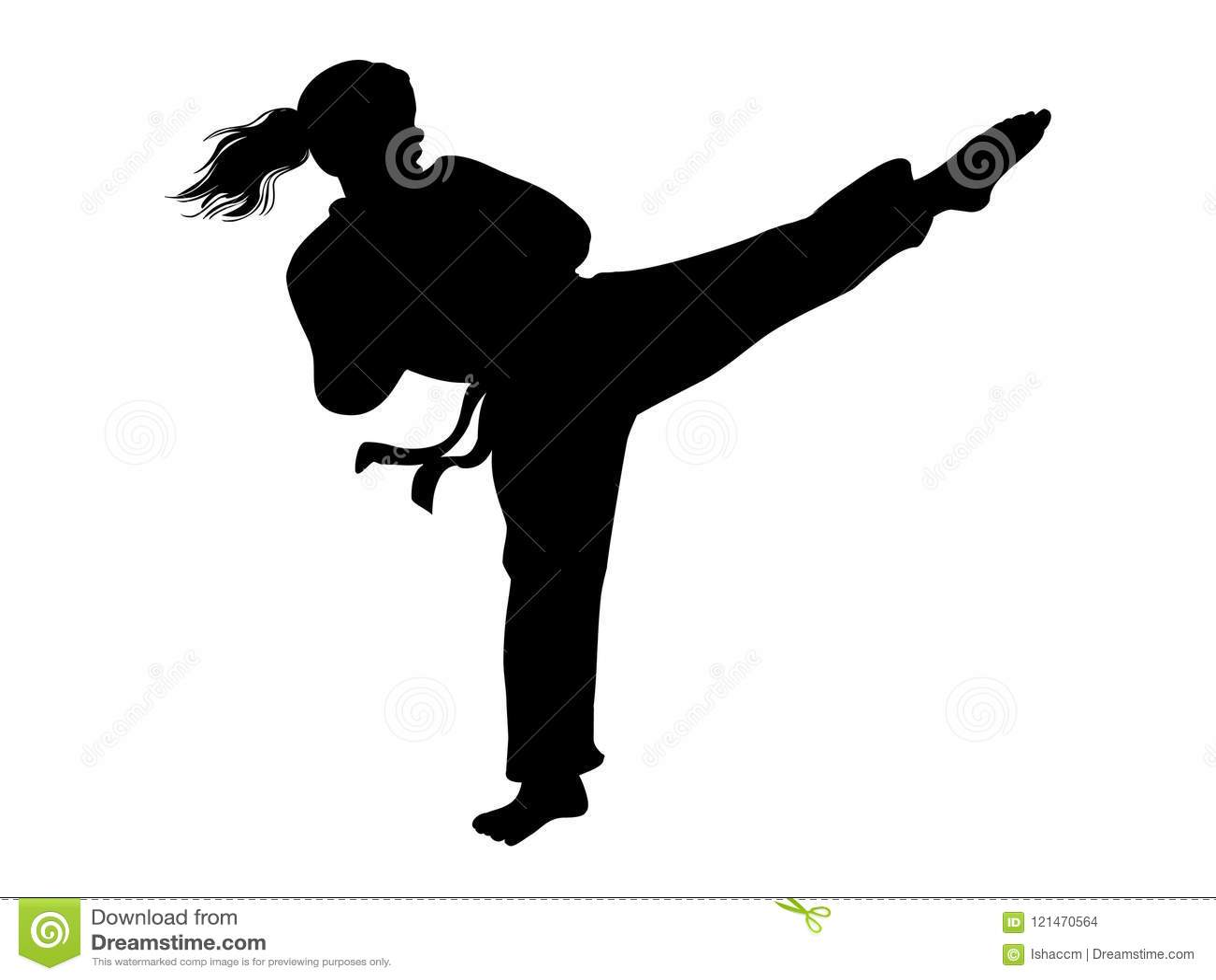 Vetor da menina do karaté Silhueta da menina do lutador