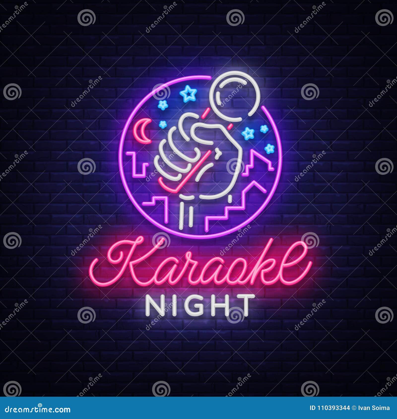 Vetor da noite do karaoke Sinal de néon, logotipo luminoso, símbolo, bandeira clara Anunciando a barra brilhante do karaoke da no