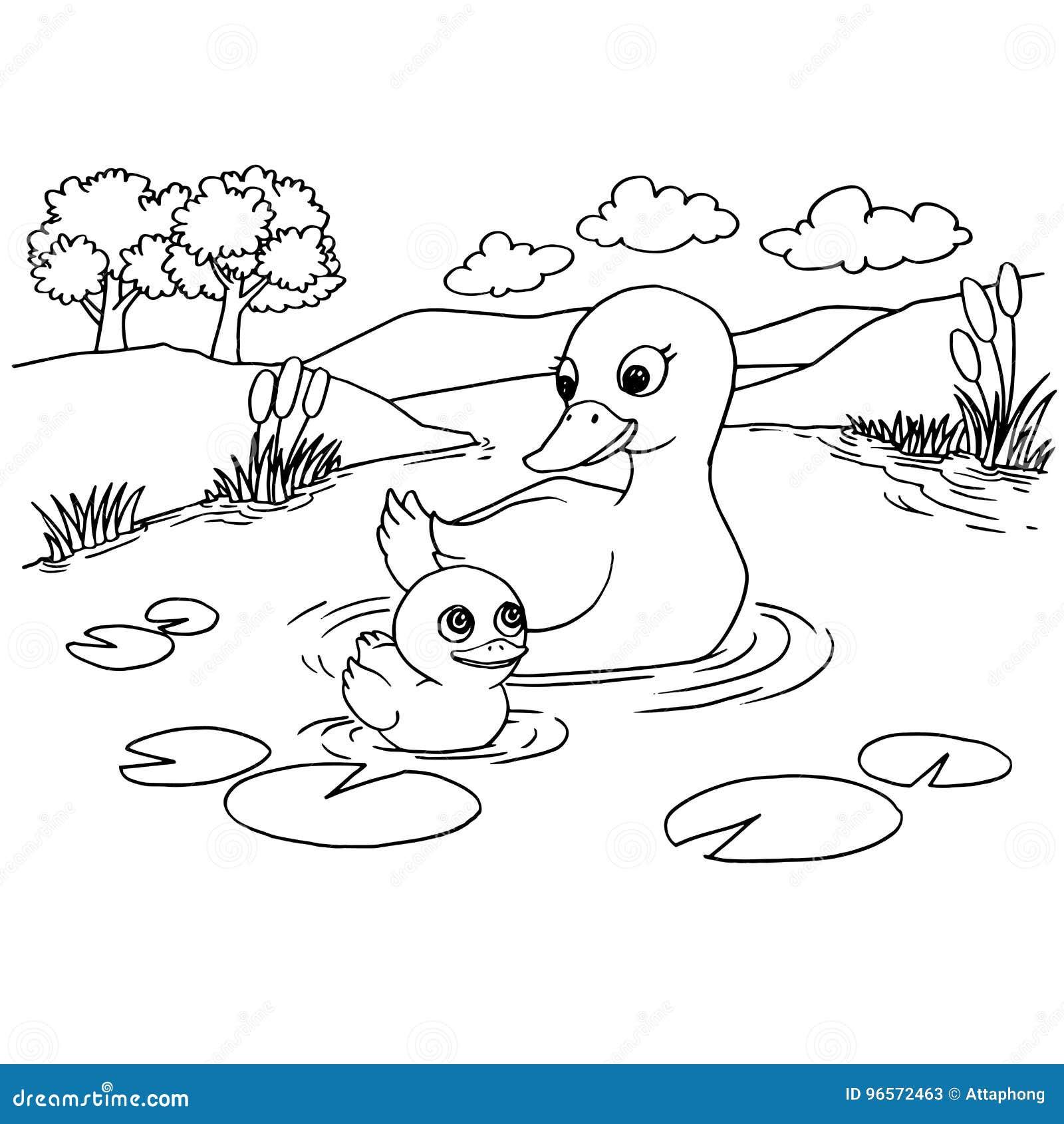 Vetor Da Pagina Da Coloracao Do Lago Do Pato Dos Desenhos Animados