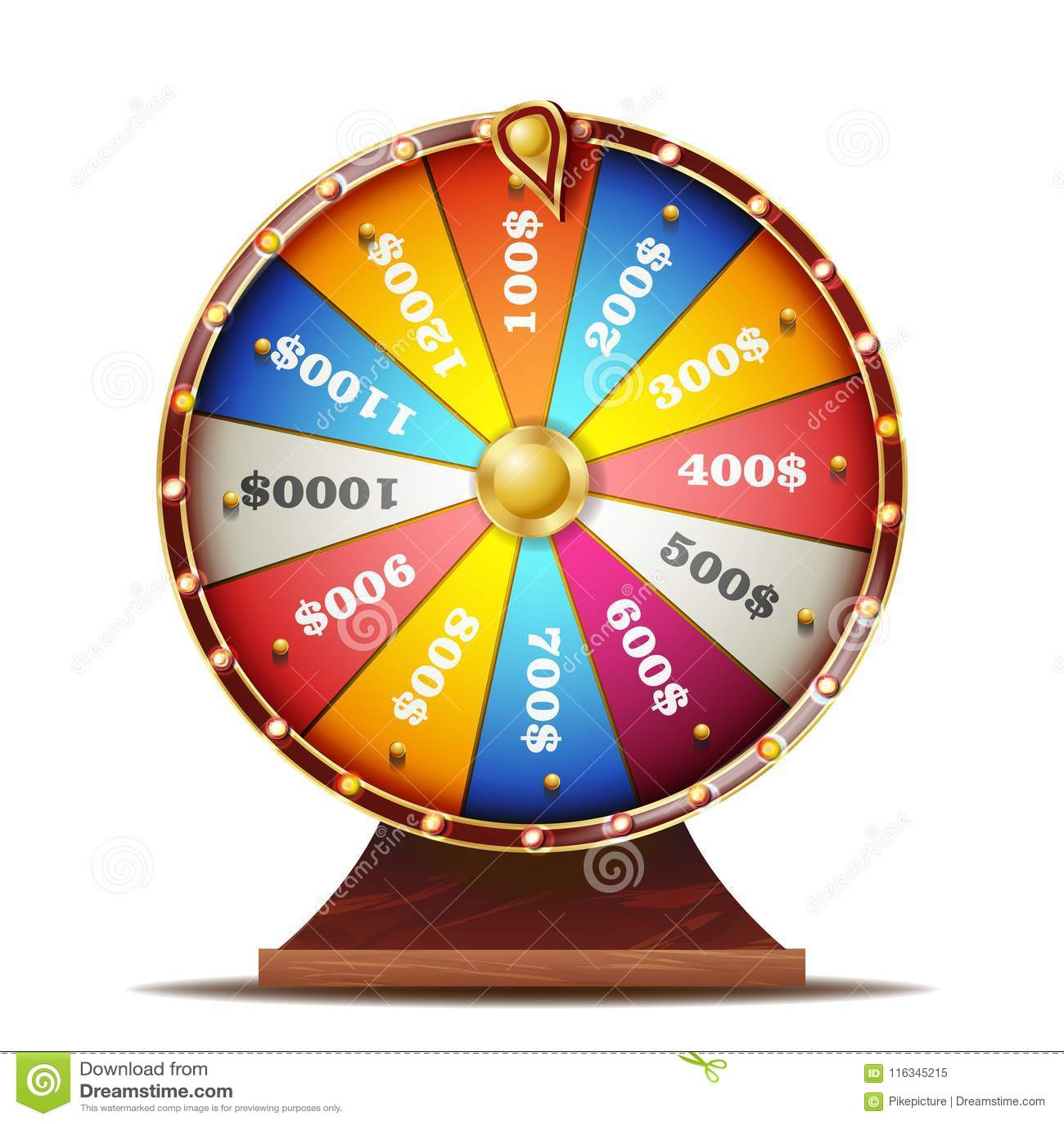 Vetor da roda da fortuna Objeto 3d realístico Jogo de azar do casino Ilustração isolada