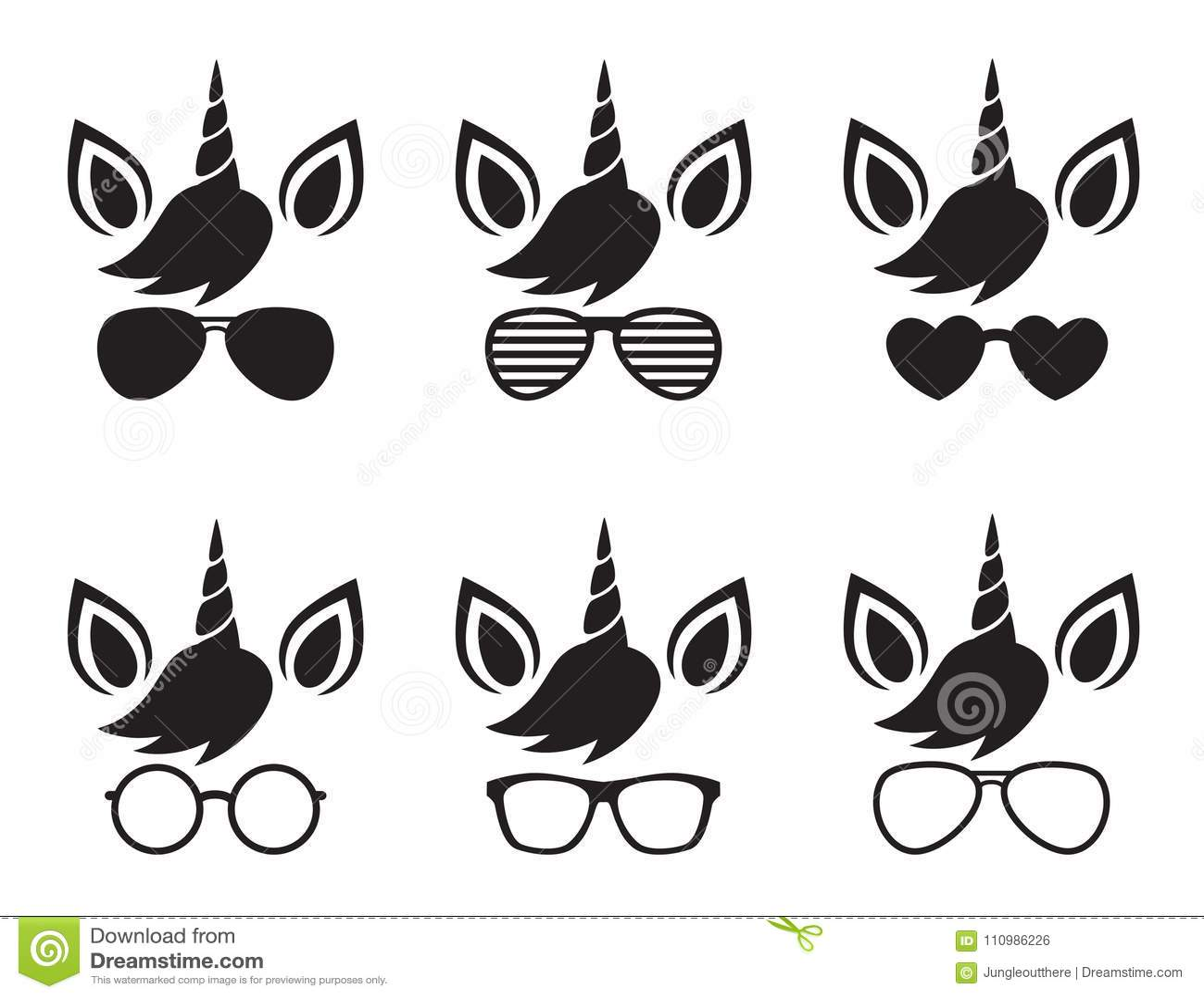 Vetor da silhueta de Unicorn Face Wearing Glasses e dos óculos de sol