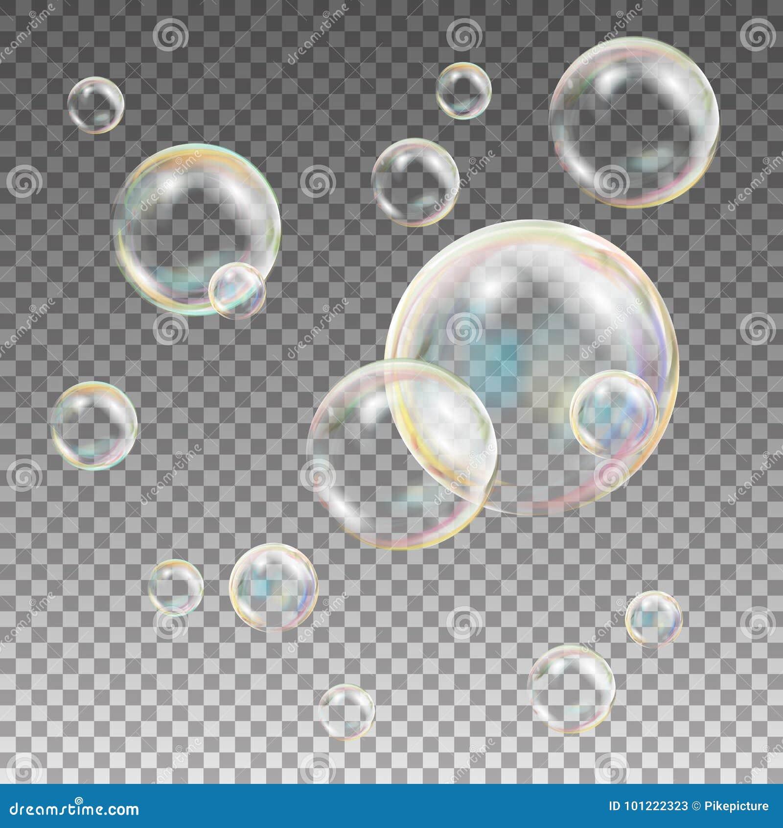 Vetor das bolhas de sabão Bolhas de sabão da reflexão do arco-íris Aqua Wash Ilustração