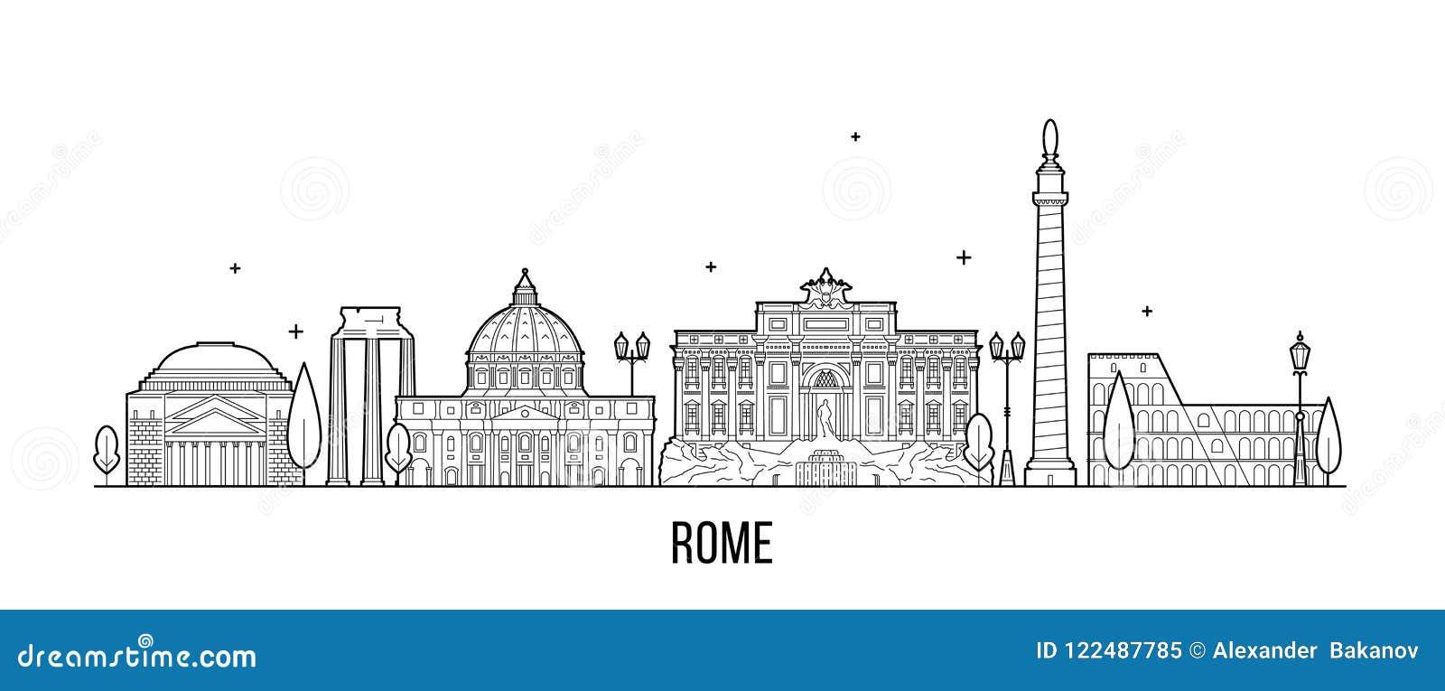 Vetor das construções da cidade de Itália da skyline de Roma