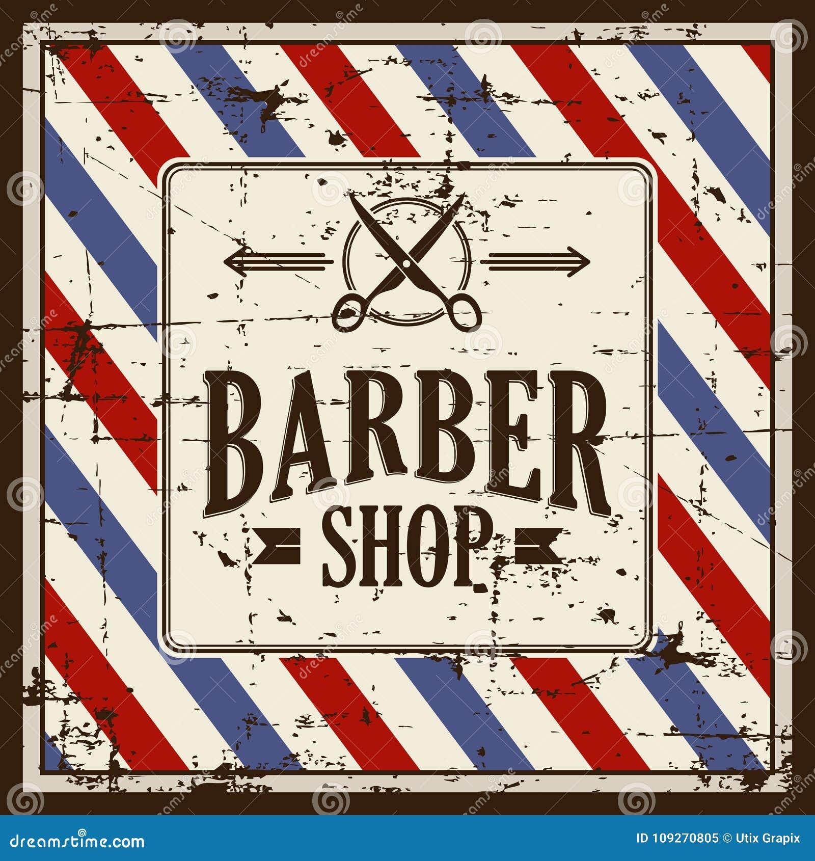 Vetor de Barber Shop Sign Signage do barbeiro