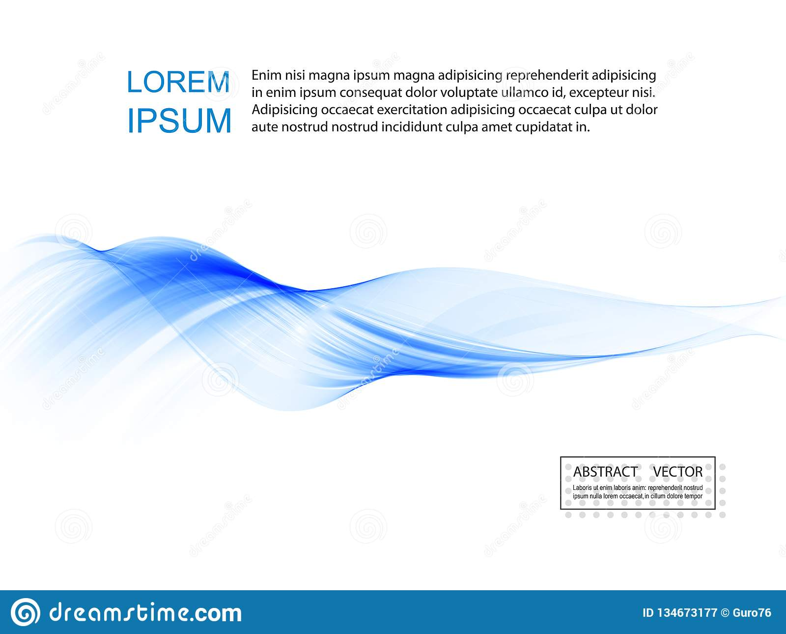 Vetor de onda liso abstrato da cor Ilustração azul do movimento do fluxo da curva Projeto do fumo