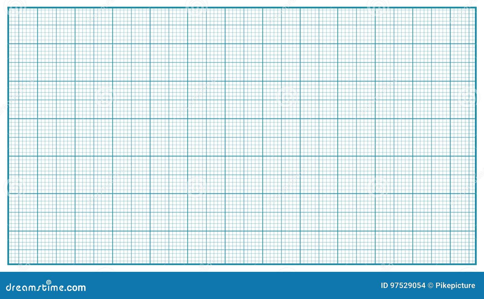 Vetor de papel do milímetro azul Papel de representação gráfica para a educação, projetos de tiragem Medida clássica do papel da