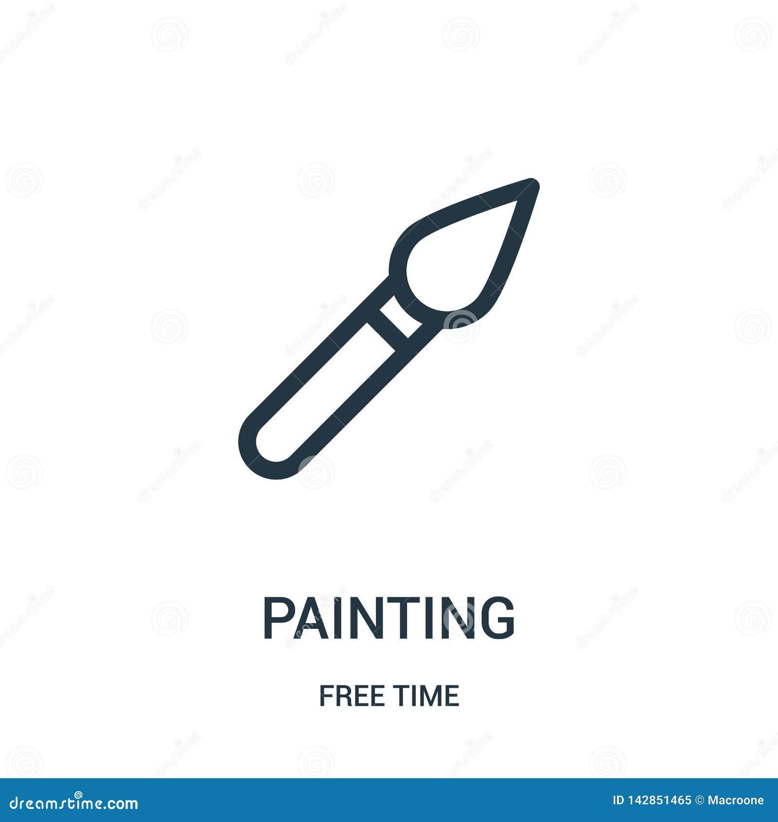 Vetor de pintura do ícone da coleção do tempo livre Linha fina ilustração do vetor do ícone do esboço da pintura Símbolo linear p