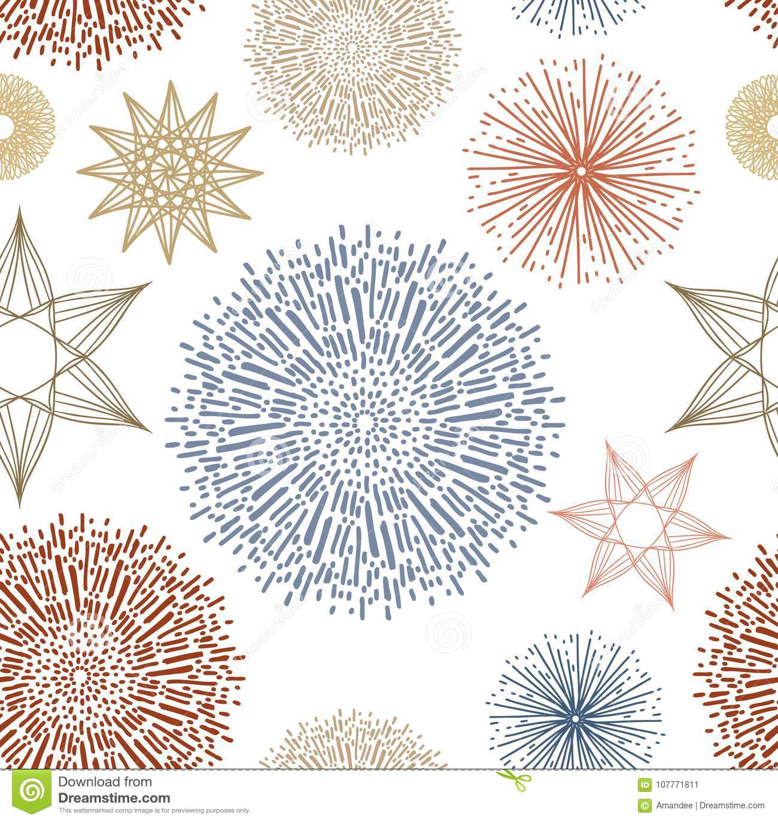 Vetor de repetição sem emenda do teste padrão do papel de parede, estrelas e sunbursts ou starbursts abstratos da garatuja no our