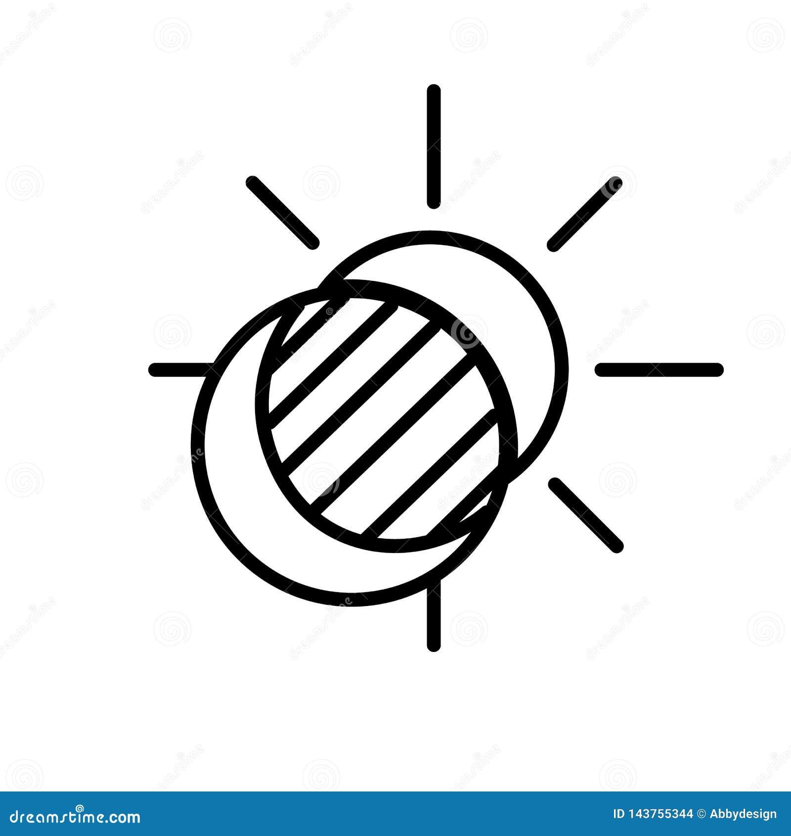 Vetor de Sun e de ícone do eclipse da lua