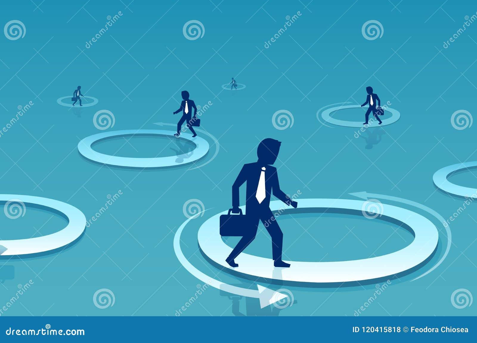 Vetor de um homem de negócios que anda dentro do círculo