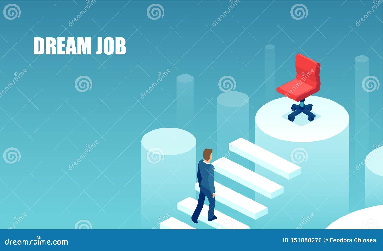 Vetor de um homem de negócios que escala acima a escada da carreira para seu trabalho ideal