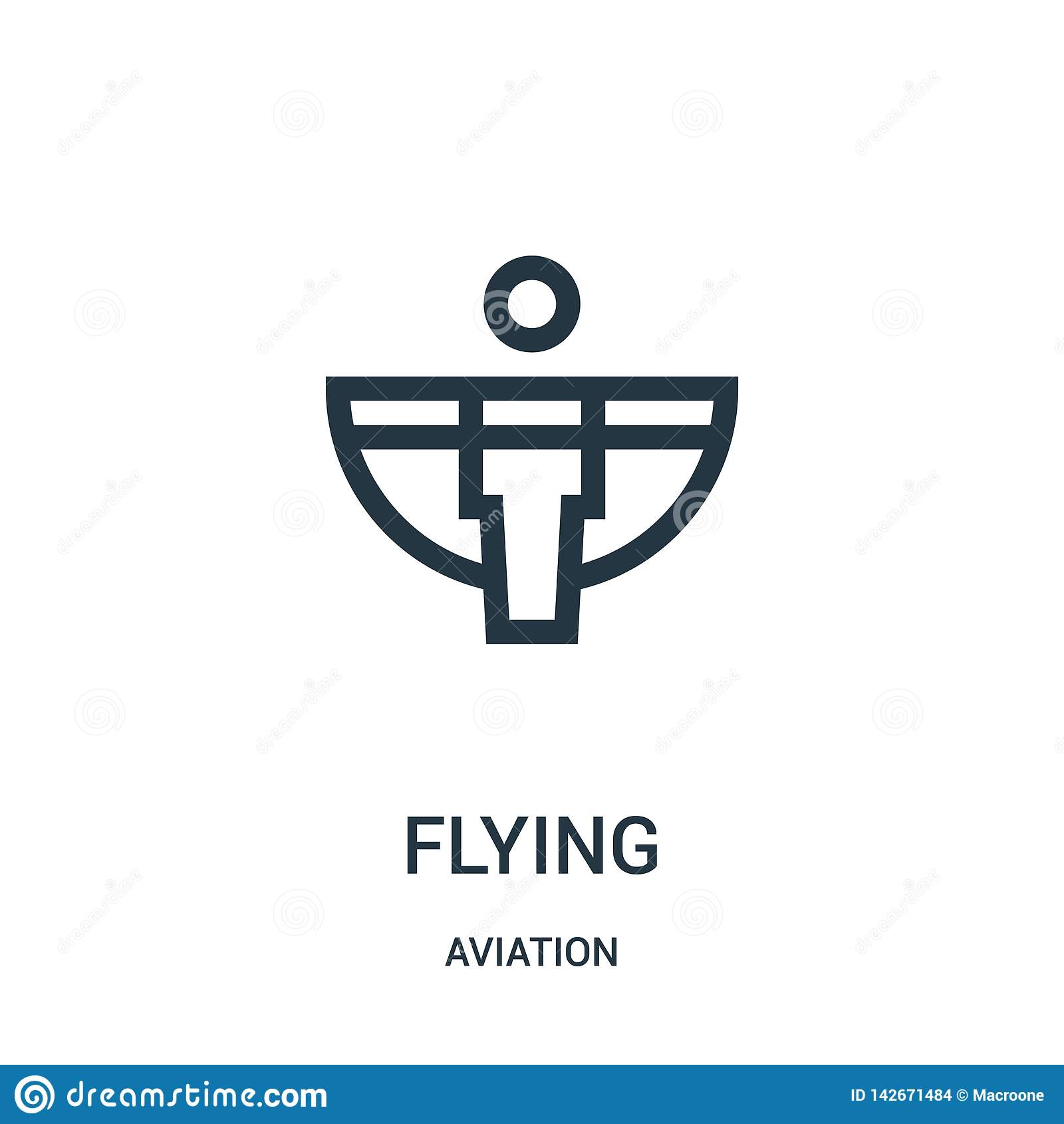 Vetor de voo do ícone da coleção da aviação Linha fina ilustração do vetor do ícone do esboço do voo Símbolo linear para o uso na