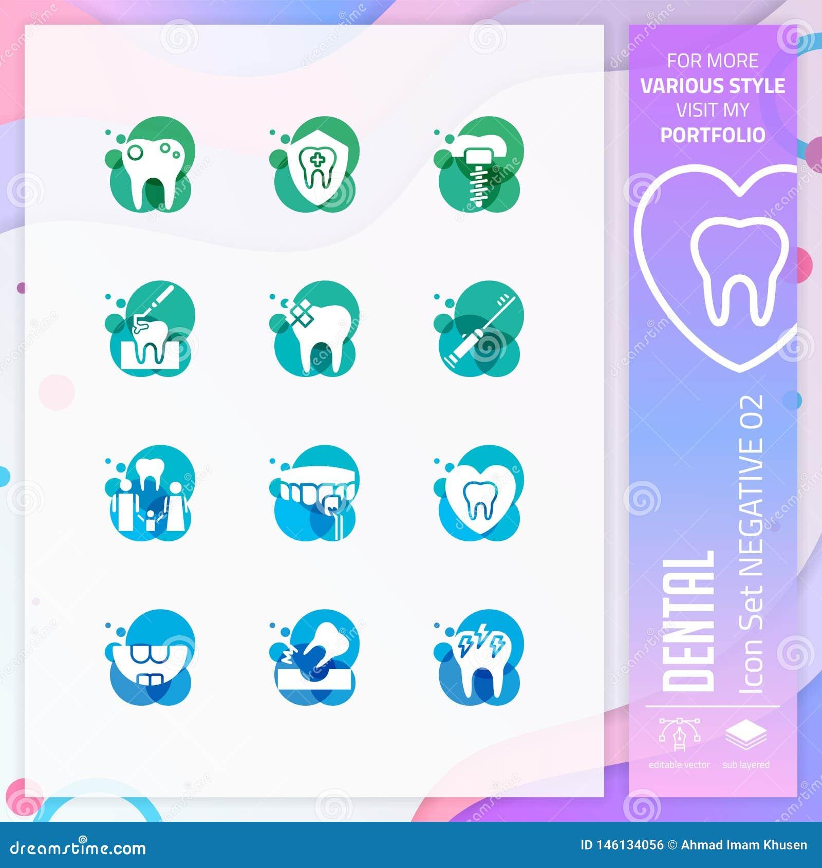 Vetor dental do grupo do ícone com negativo no conceito colorido Ícone dental da clínica para o elemento do Web site, app, UI, in