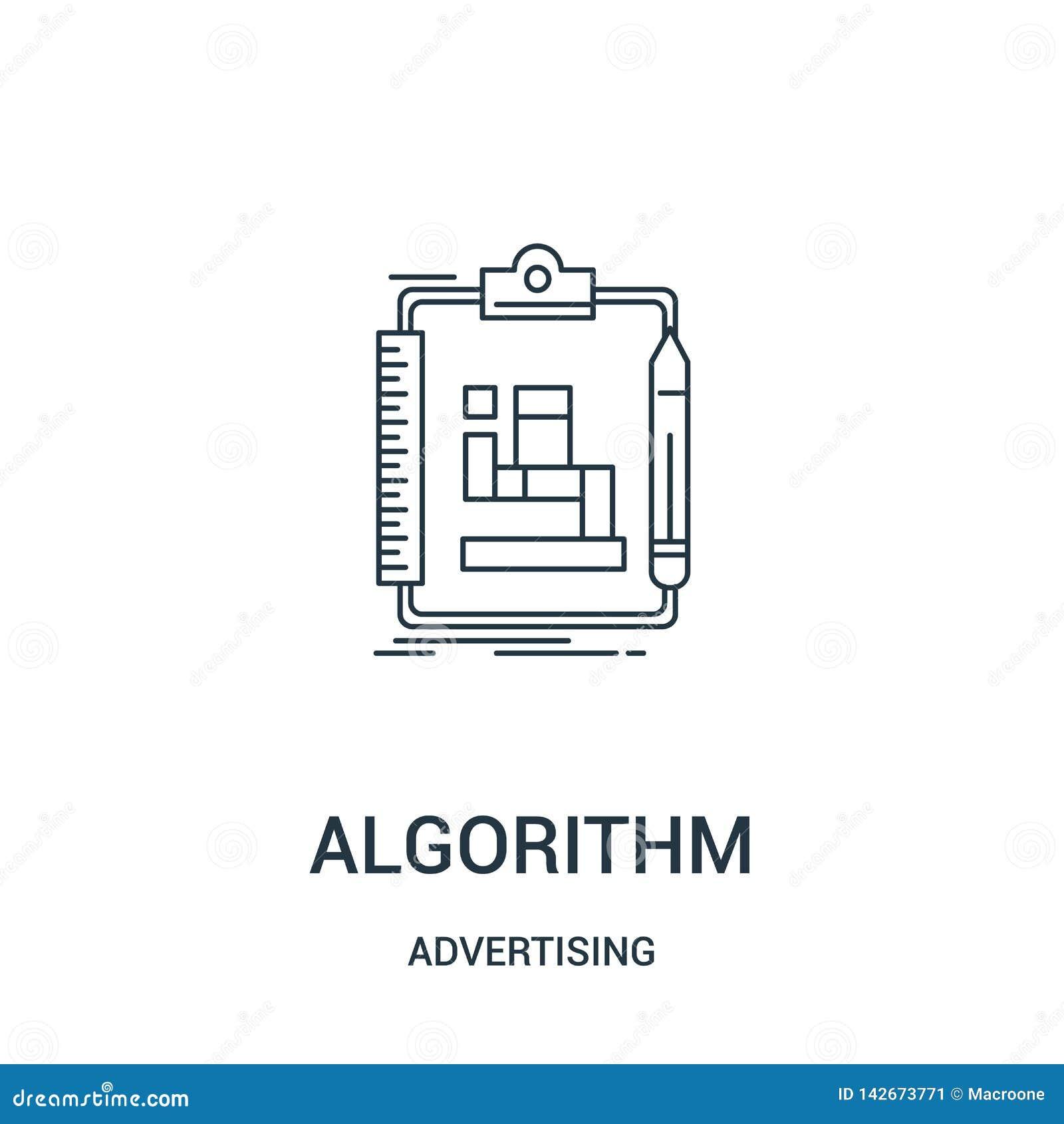 Vetor do ícone do algoritmo de anunciar a coleção Linha fina ilustração do vetor do ícone do esboço do algoritmo Símbolo linear p