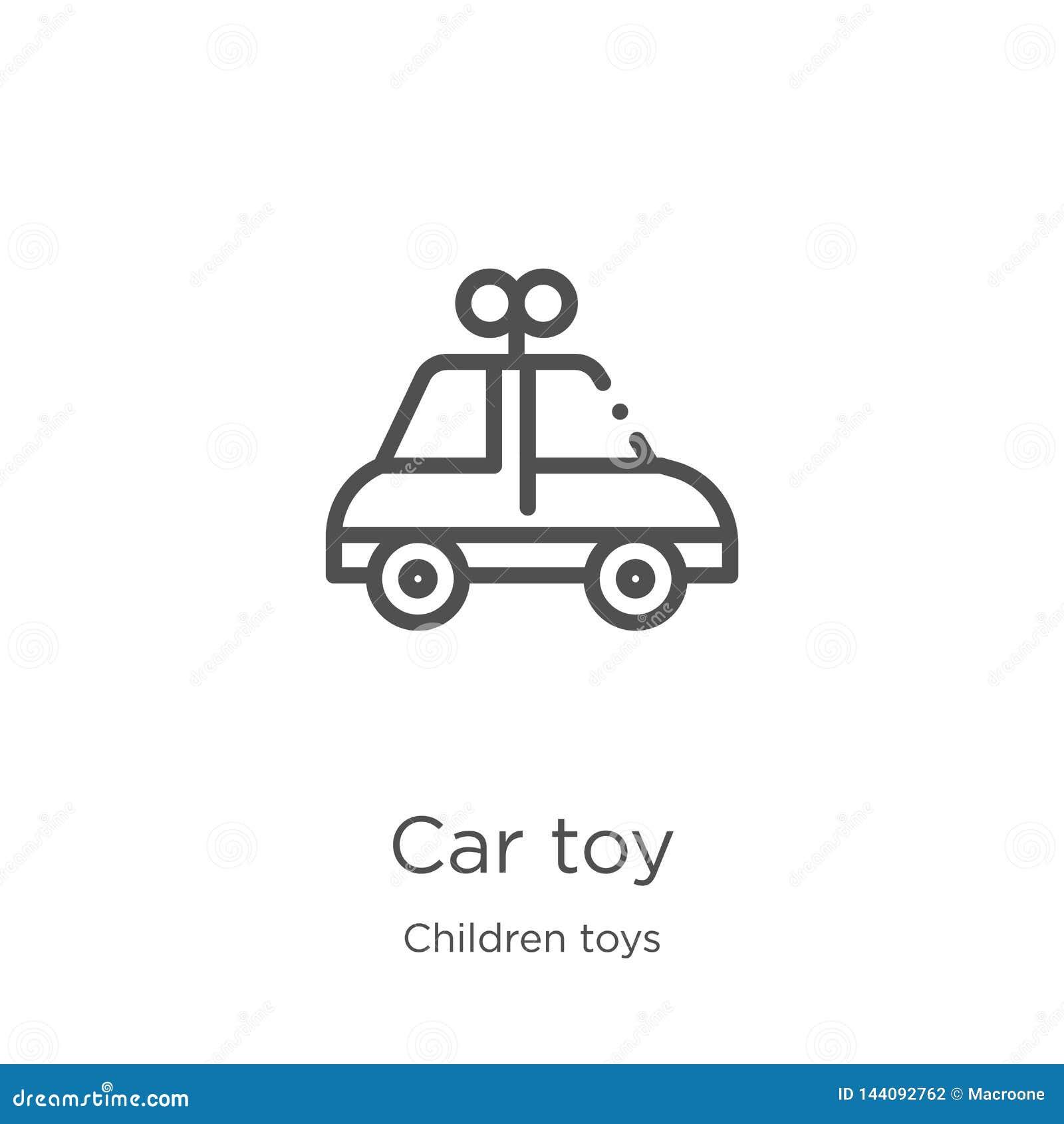 Vetor do ícone do brinquedo do carro da coleção dos brinquedos das crianças Linha fina ilustração do vetor do ícone do esboço do