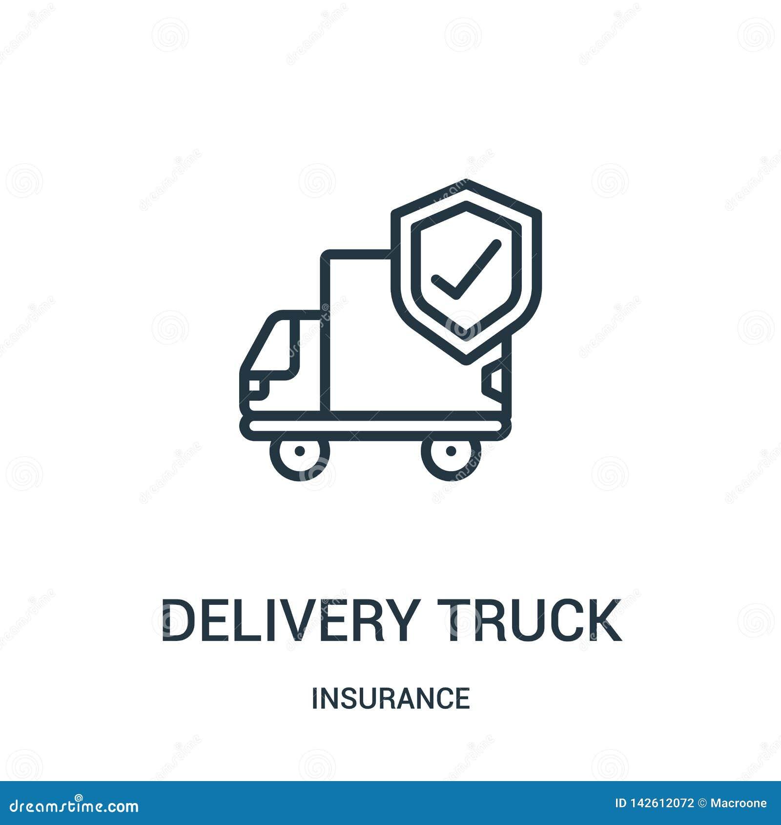 Vetor do ícone do caminhão de entrega da coleção do seguro Linha fina ilustra??o do vetor do ?cone do esbo?o do caminh?o de entre
