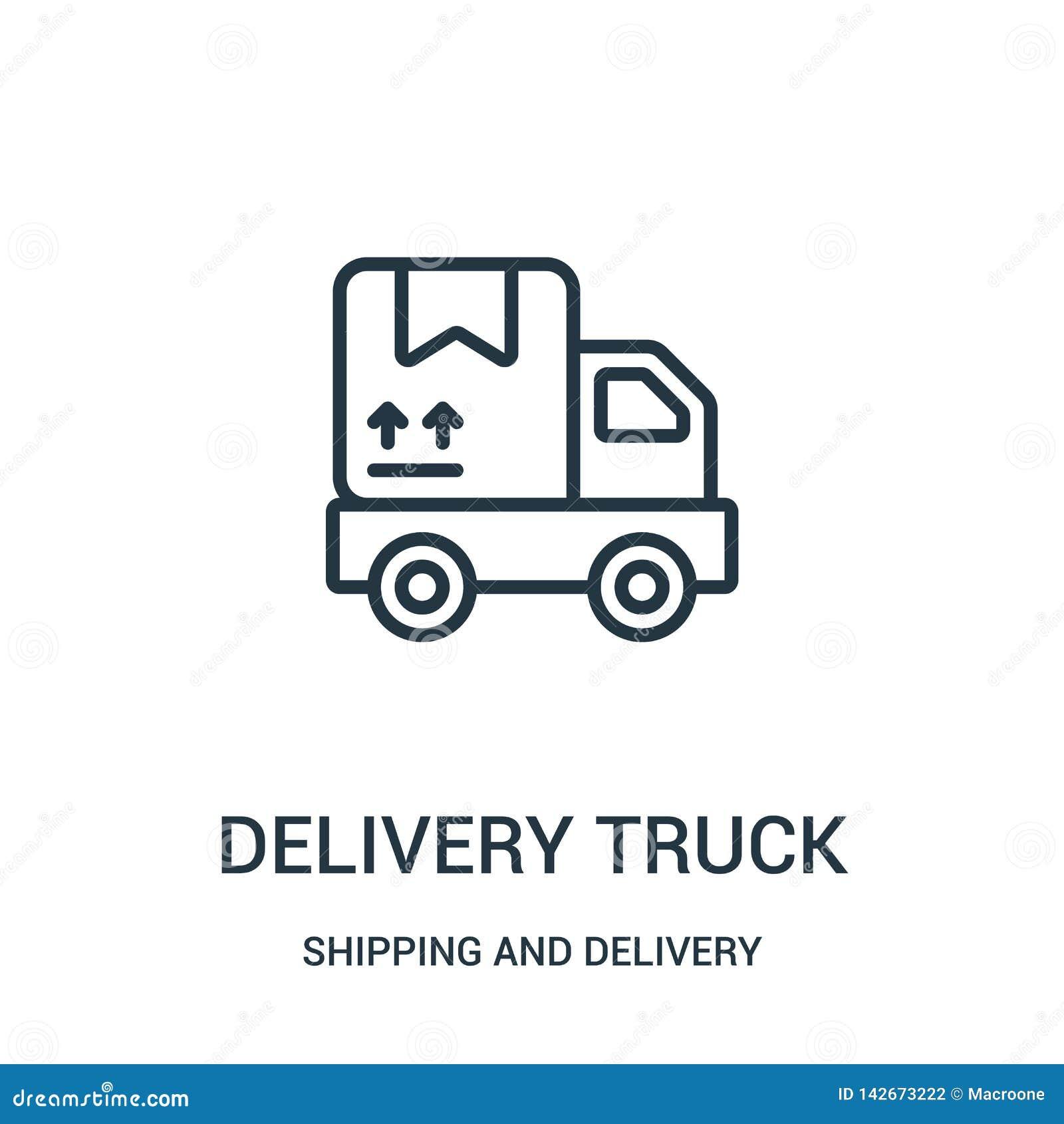 Vetor do ícone do caminhão de entrega da coleção do transporte e da entrega Linha fina ilustração do vetor do ícone do esboço do