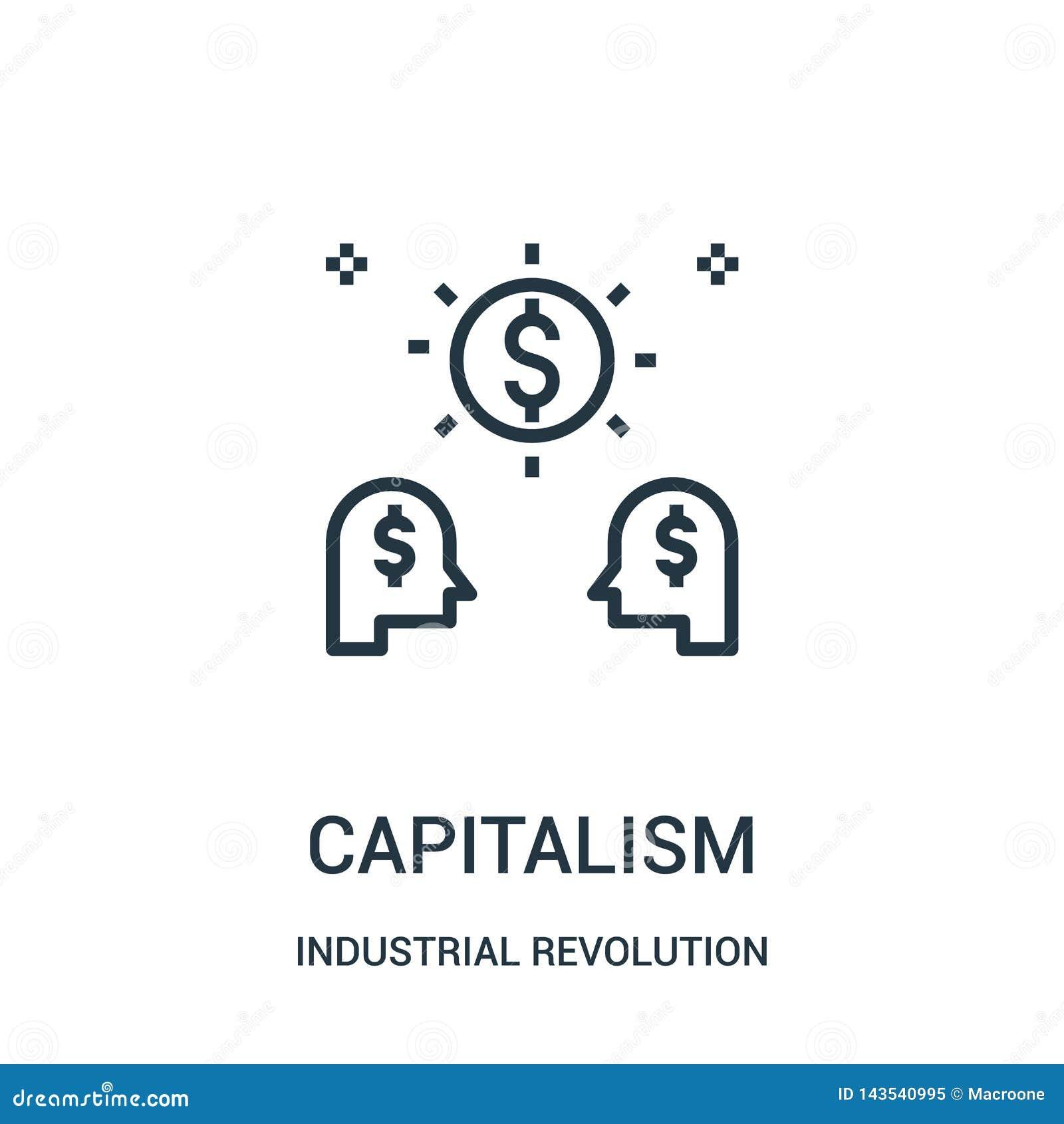 Vetor do ícone do capitalismo da coleção da Revolução Industrial Linha fina ilustração do vetor do ícone do esboço do capitalismo