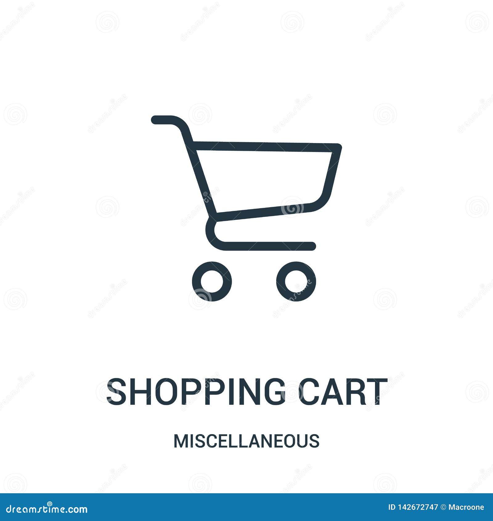 Vetor do ícone do carrinho de compras da coleção variada Linha fina ilustração do vetor do ícone do esboço do carrinho de compras